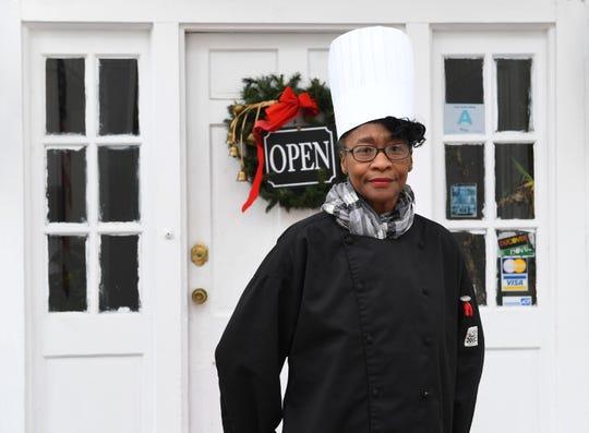 Angela Manigault in front of her restaurant, Chef Manigault's La Vieille Maison, Thursday, Dec. 06, 2018.