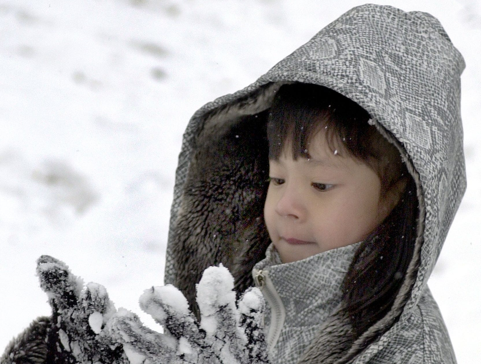 Kayle Doan, 7 checks her snow encrusted gloves while playing in the snow with her brother and uncle l/3/02 near palmetto Exposition hall.