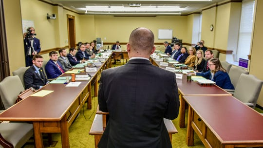 House Minority Leader Rep. Casey Schreiner, D-Great Falls, addresses the rules committee on Tuesday.