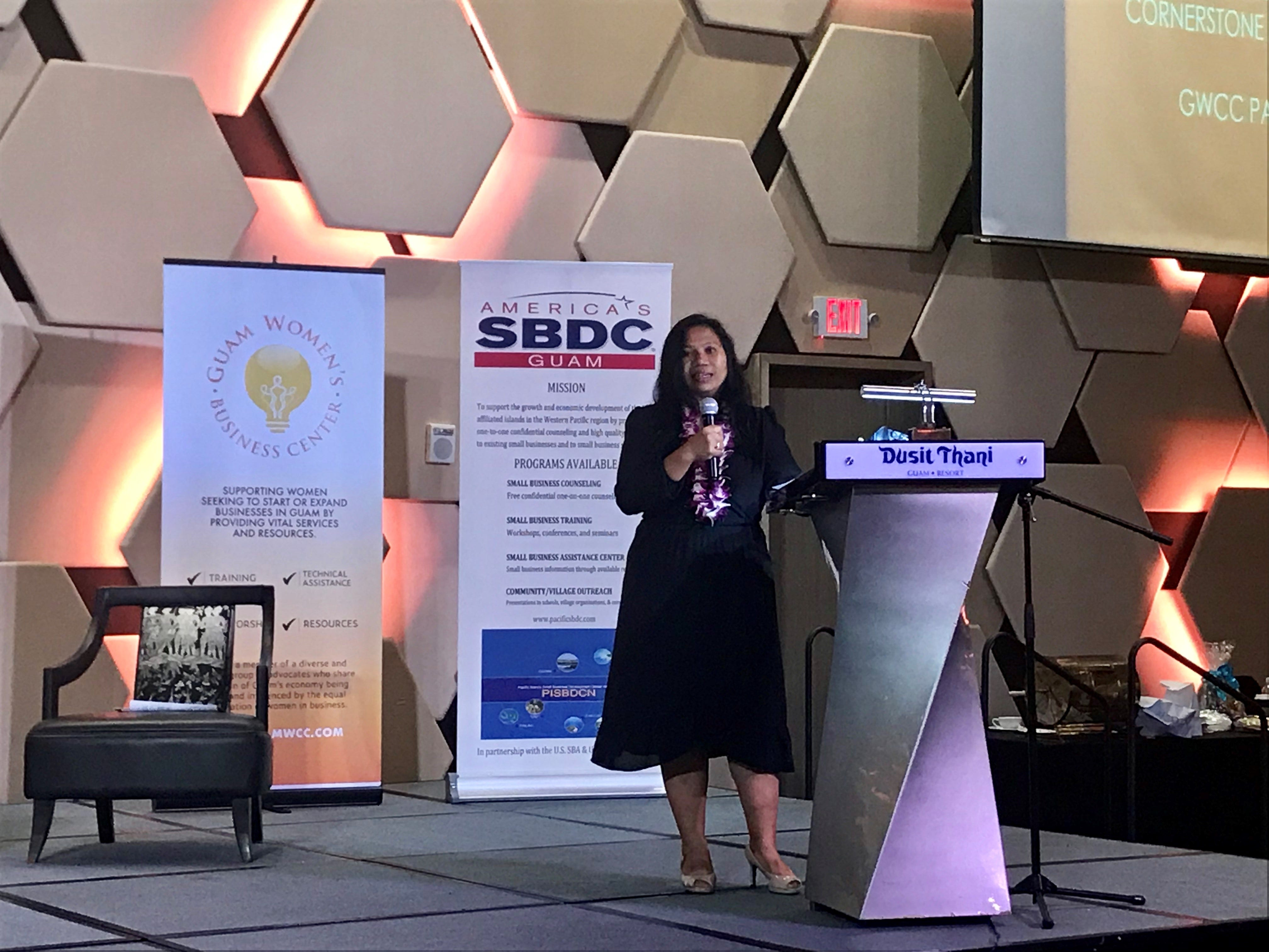 Siska Hutapea discusses Guam's economy looking into 2019 at the Women's Chamber of Commerce five-year anniversary celebration, held at the Dusit Thani Thursday, Dec. 6.