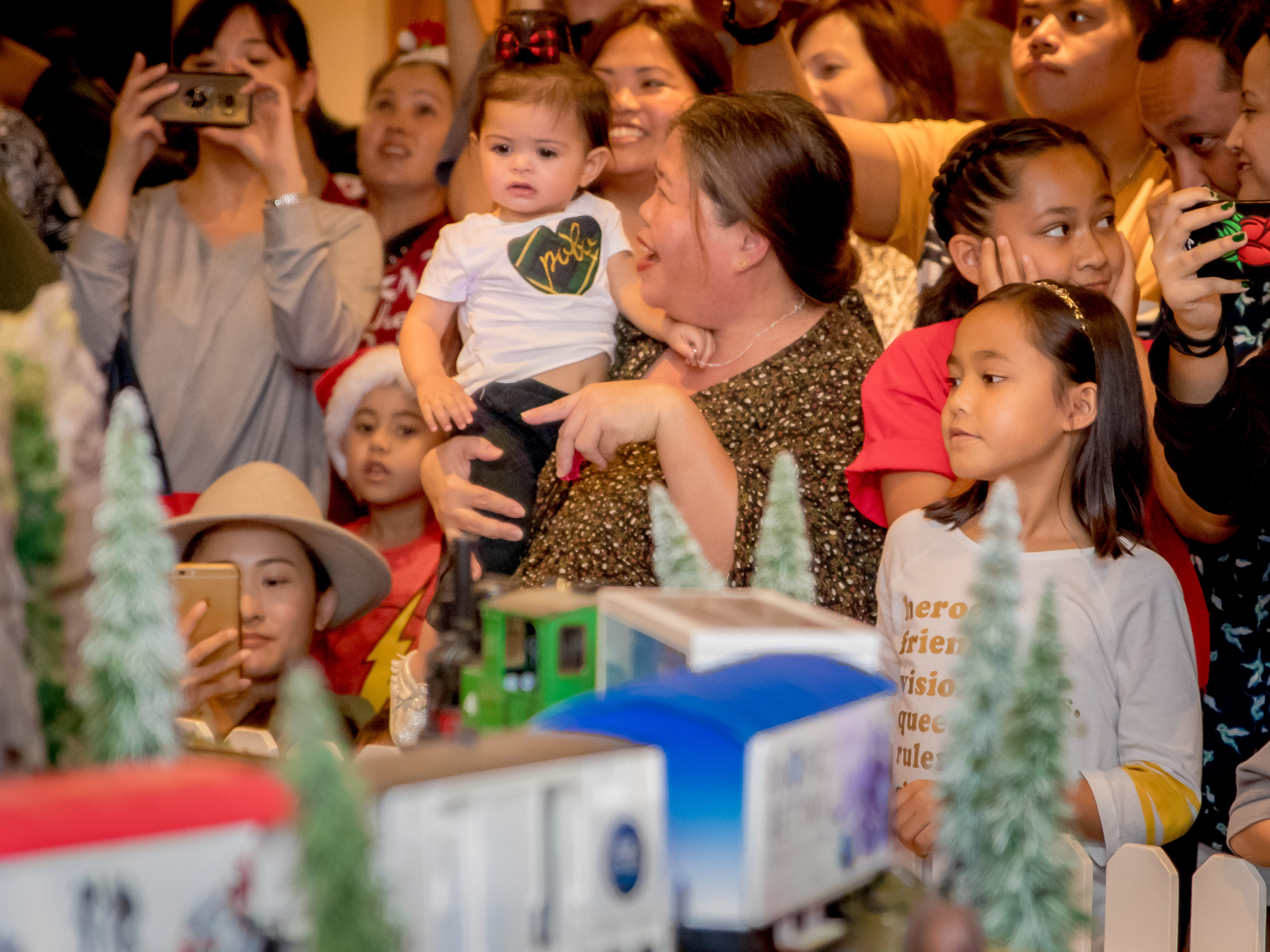 "Guests reacts launching of Hilton Guam Resort and Spa's  ""Holiday Train"" on Dec. 5."