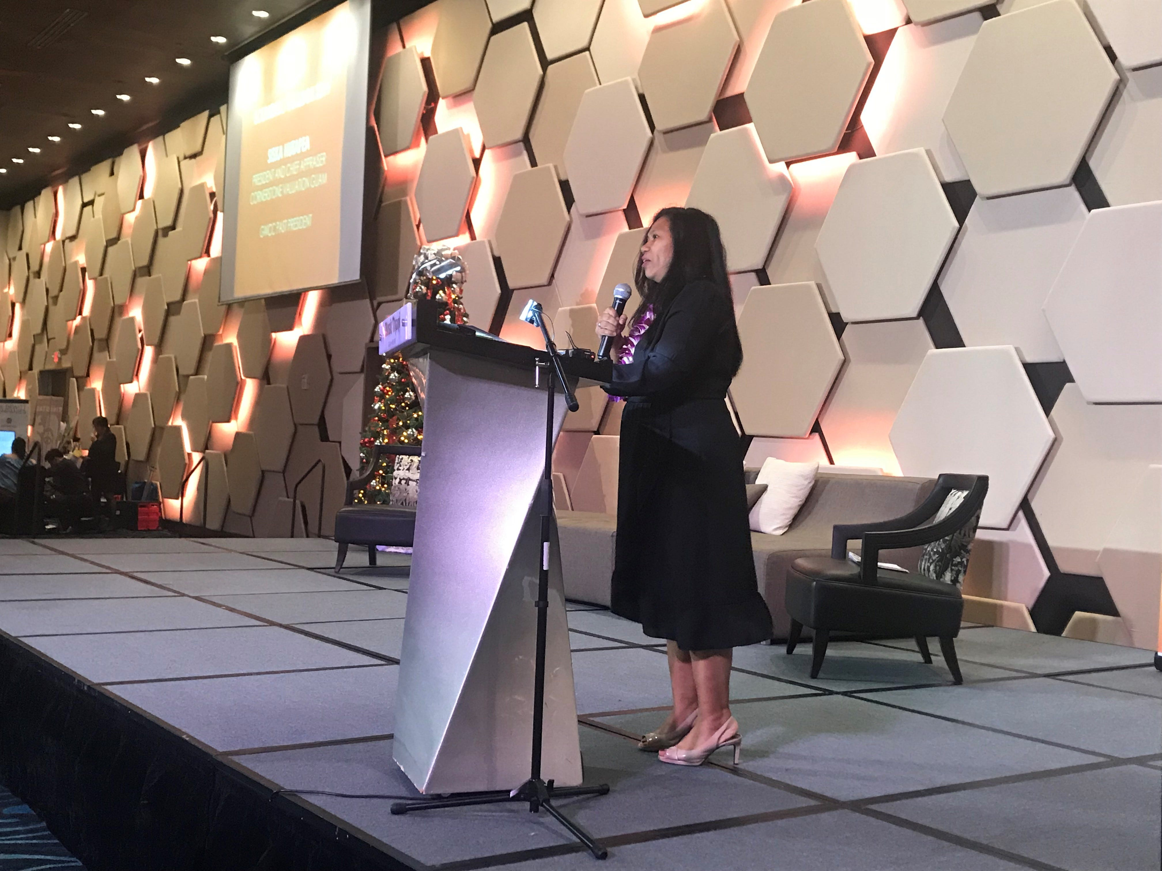 Keynote speaker Siska Hutapea discusses the economic outlook for 2019 at the Guam Women's Chamber of Commerce five year anniversary meeting, held Thursday, Dec. 6 at the Dusit Thani.