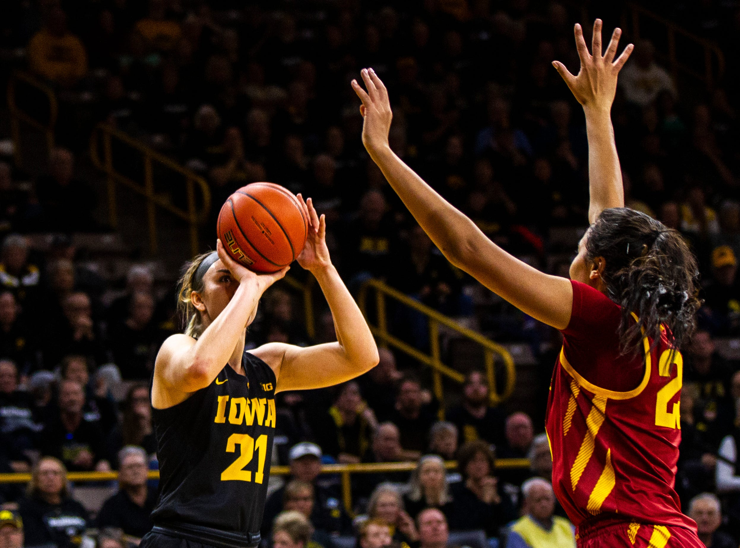 Iowa forward Hannah Stewart (21) attempts a basket during a Cy-Hawk series NCAA women's basketball game on Wednesday, Dec. 5, 2018, at Carver-Hawkeye Arena in Iowa City.