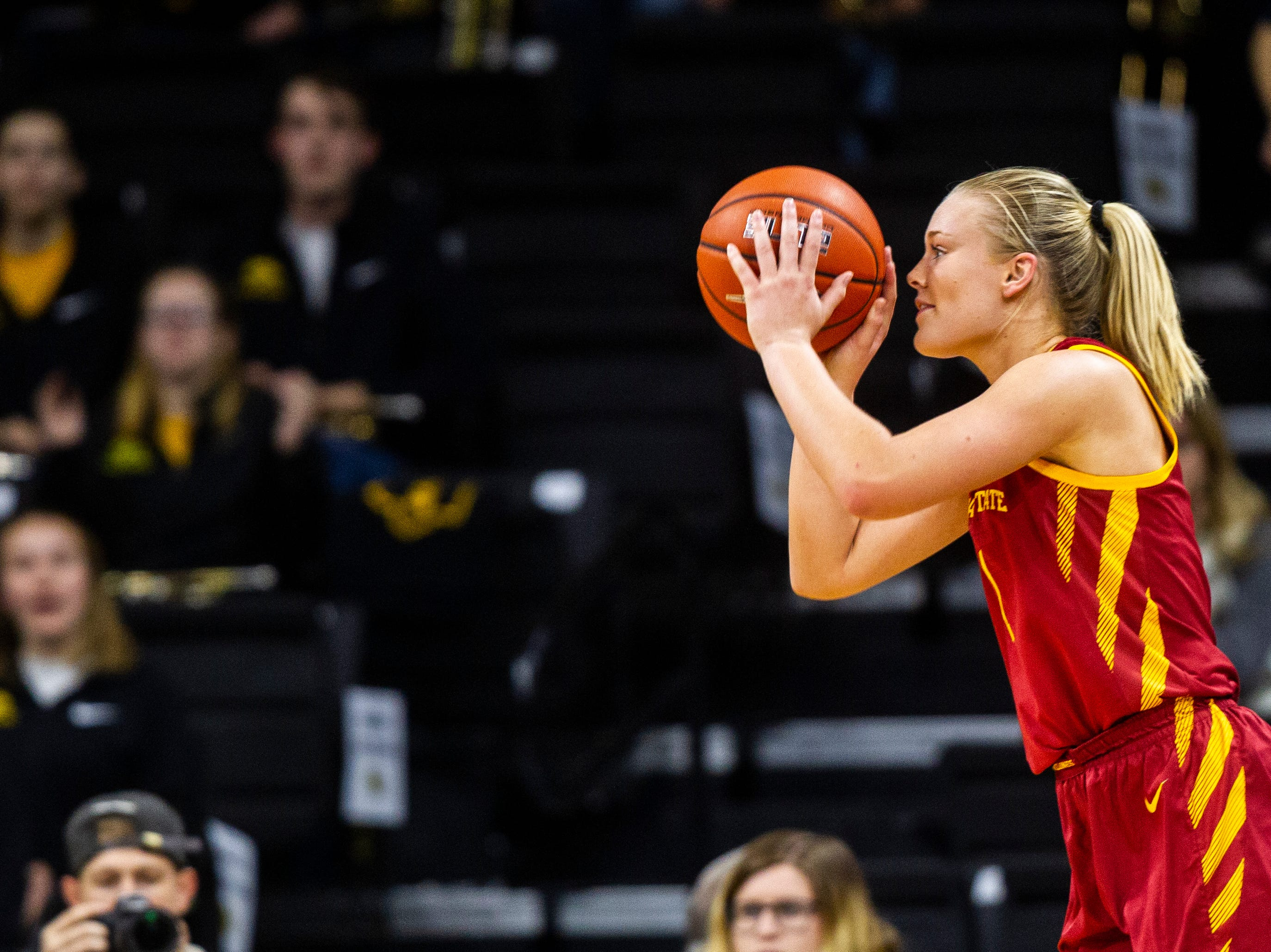 Iowa State forward Madison Wise (1) shoots a 3-point basket during a Cy-Hawk series NCAA women's basketball game on Wednesday, Dec. 5, 2018, at Carver-Hawkeye Arena in Iowa City.