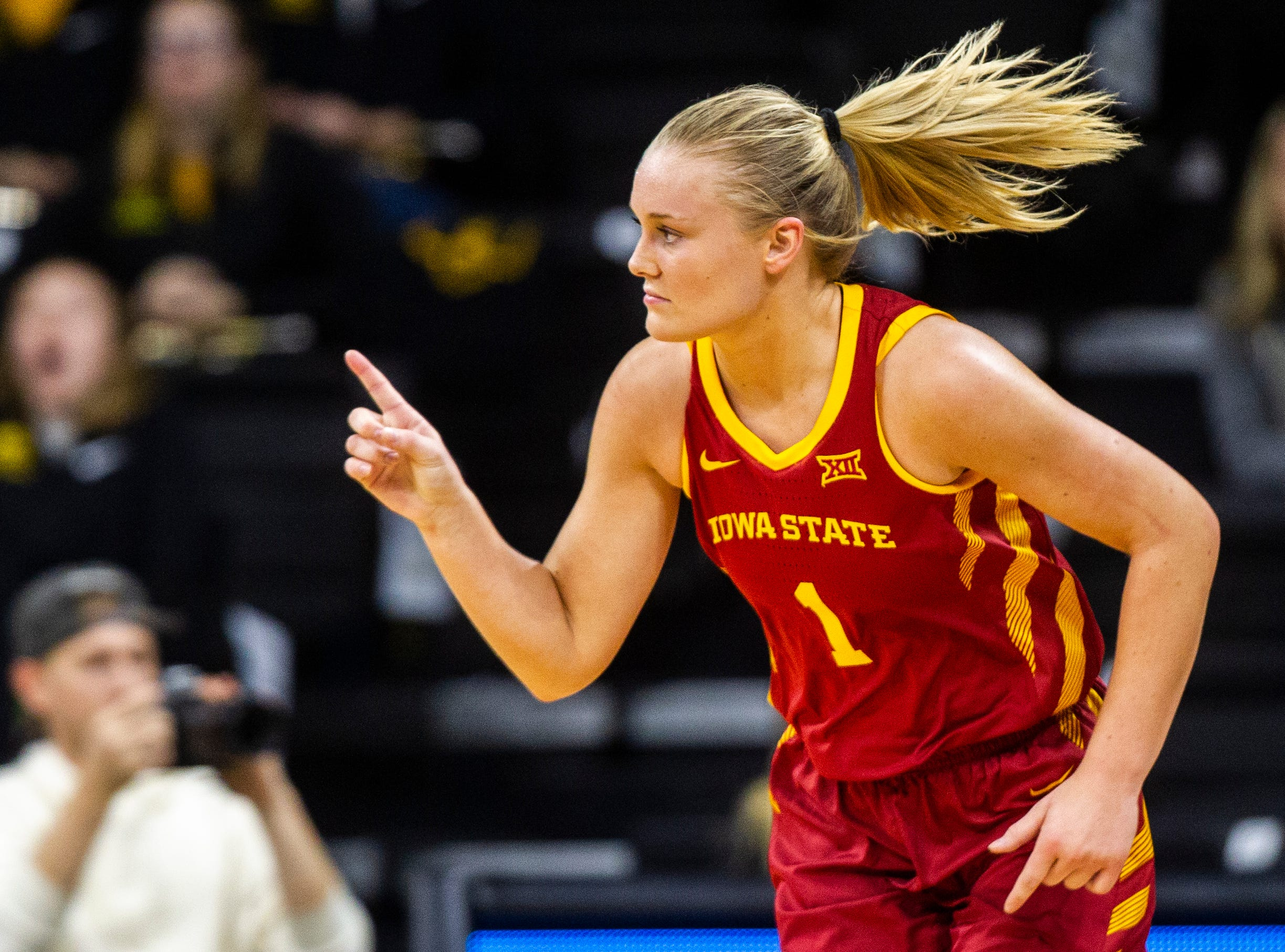 Iowa State forward Madison Wise (1) celebrates after making a 3-point basket during a Cy-Hawk series NCAA women's basketball game on Wednesday, Dec. 5, 2018, at Carver-Hawkeye Arena in Iowa City.