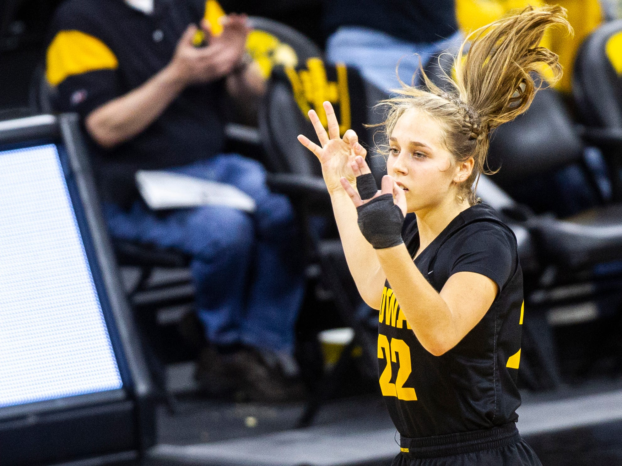 Iowa guard Kathleen Doyle (22) celebrates after making a 3-point basket during a Cy-Hawk series NCAA women's basketball game on Wednesday, Dec. 5, 2018, at Carver-Hawkeye Arena in Iowa City.
