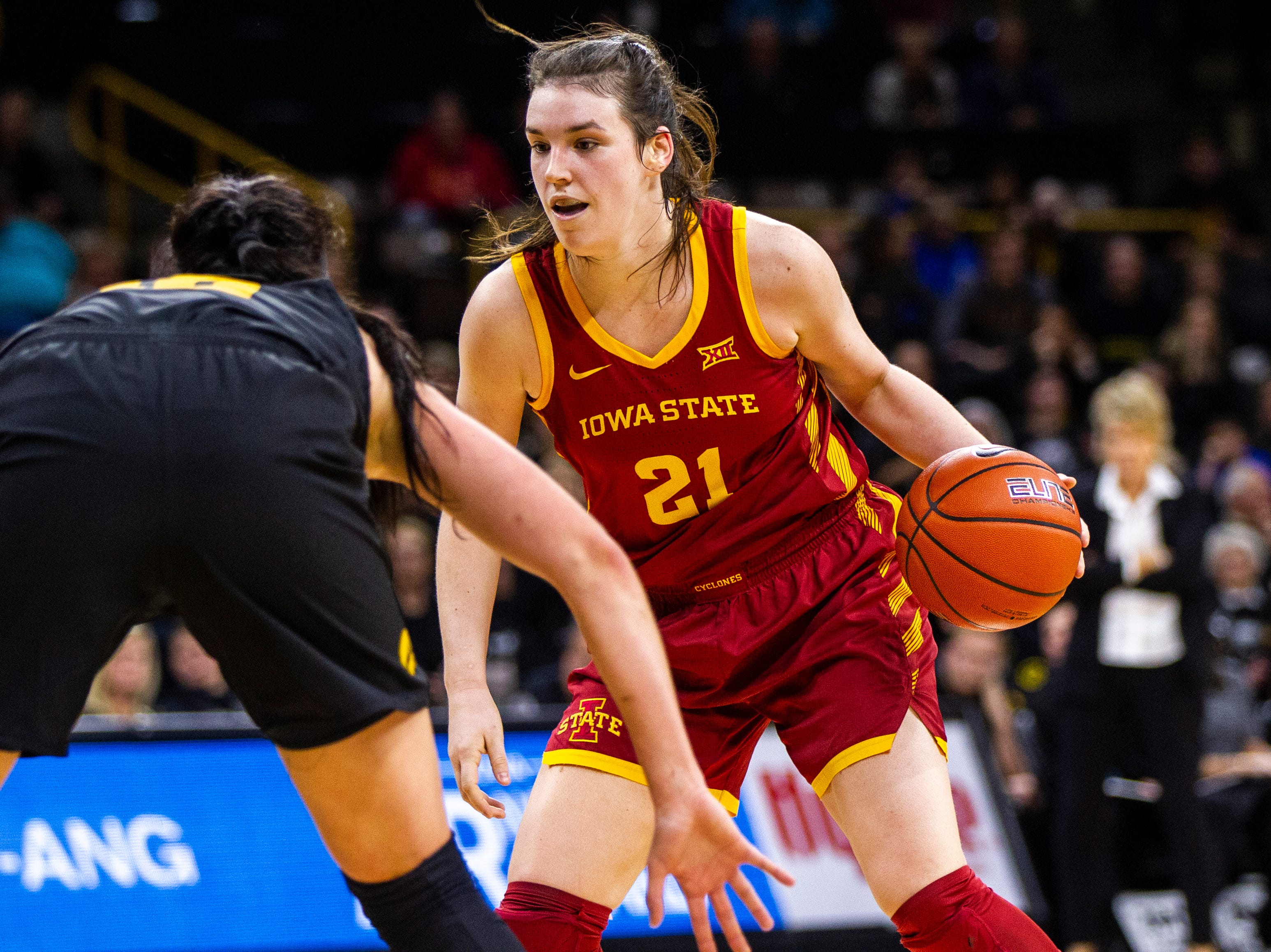 Iowa State guard Bridget Carleton (21) looks to the basket during a Cy-Hawk series NCAA women's basketball game on Wednesday, Dec. 5, 2018, at Carver-Hawkeye Arena in Iowa City.