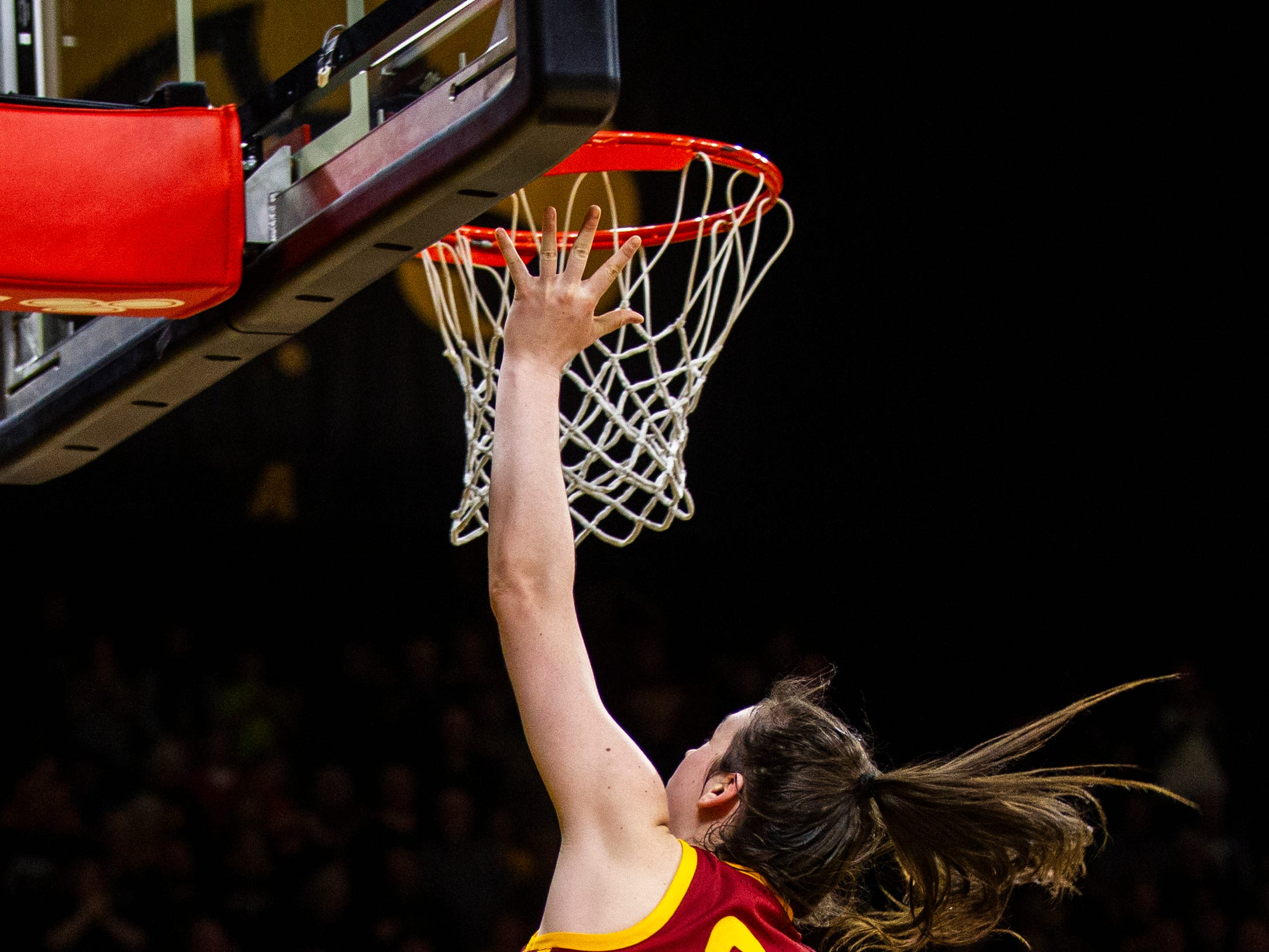 Iowa State guard Bridget Carleton (21) makes a basket during a Cy-Hawk series NCAA women's basketball game on Wednesday, Dec. 5, 2018, at Carver-Hawkeye Arena in Iowa City.