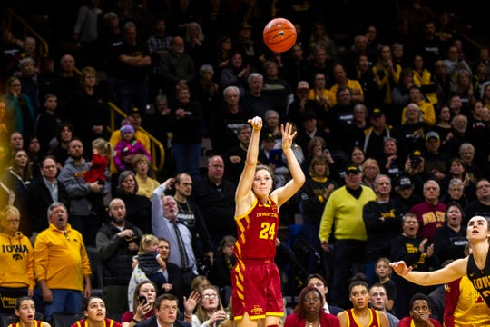 Iowa State guard Ashley Joens (24) attempts a 3-point basket at the buzzer during a Cy-Hawk series NCAA women's basketball game on Wednesday, Dec. 5, 2018, at Carver-Hawkeye Arena in Iowa City.