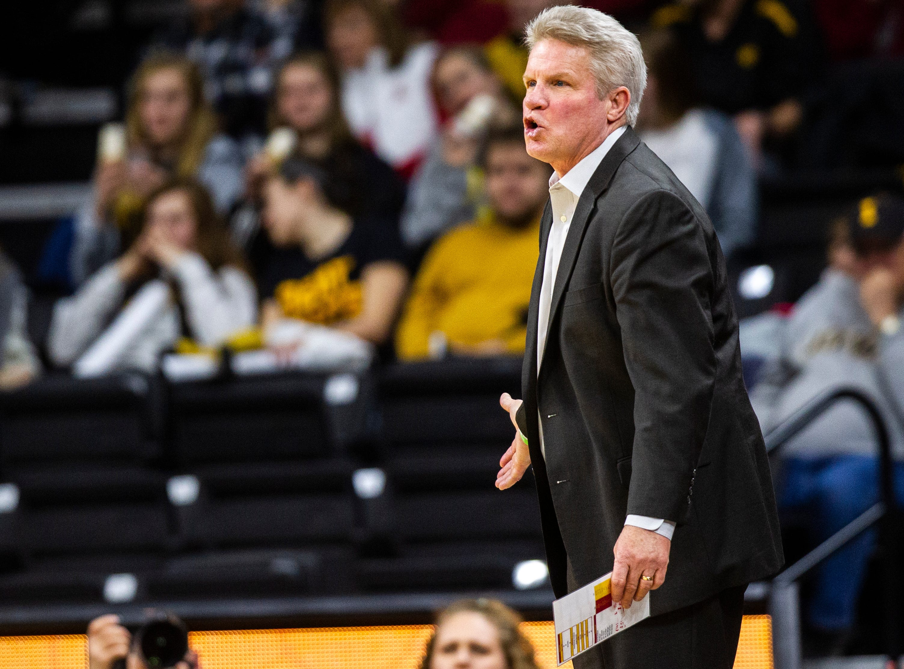 Iowa State head coach Bill Fennelly calls out to players during a Cy-Hawk series NCAA women's basketball game on Wednesday, Dec. 5, 2018, at Carver-Hawkeye Arena in Iowa City.