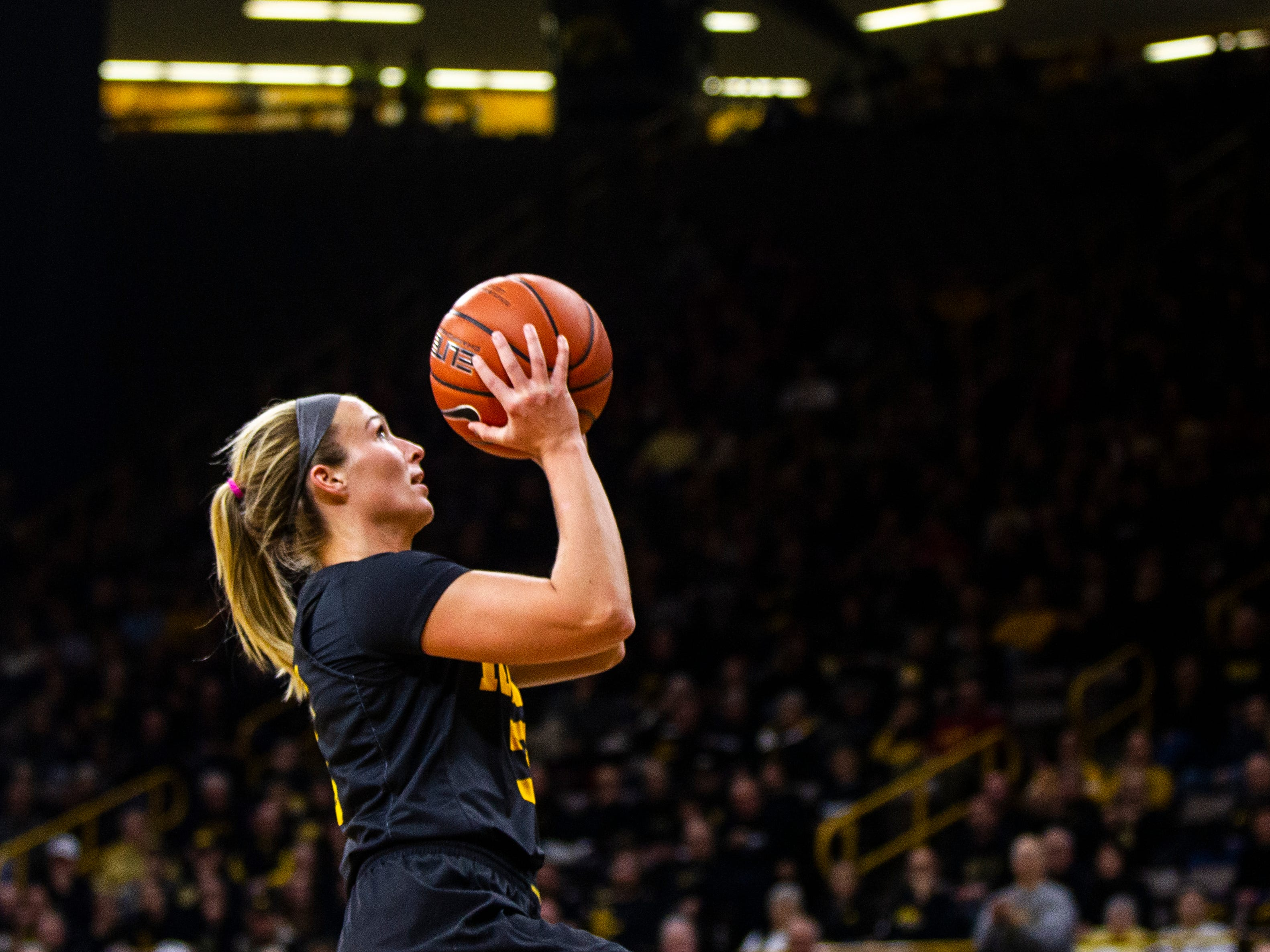 Iowa guard Makenzie Meyer (3) attempts a basket during a Cy-Hawk series NCAA women's basketball game on Wednesday, Dec. 5, 2018, at Carver-Hawkeye Arena in Iowa City.