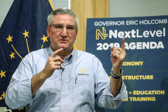 Indiana Governor Eric Holcomb discusses items on the state's 2019 legislative agenda at Trader's Point Creamery in Zionsville, Ind., Thursday, Dec. 6, 2018.