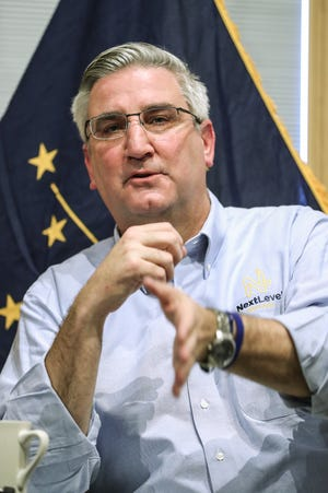 Gov. Eric Holcomb outlines his 2019 priorities at Trader's Point Creamery in Zionsville on Thursday.