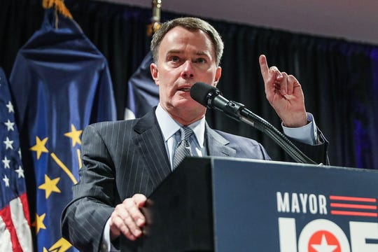 Indianapolis Mayor Joe Hogsett announces that he will run for re-election, at the Phoenix Theatre in Indianapolis, Wednesday, Dec. 5, 2018.