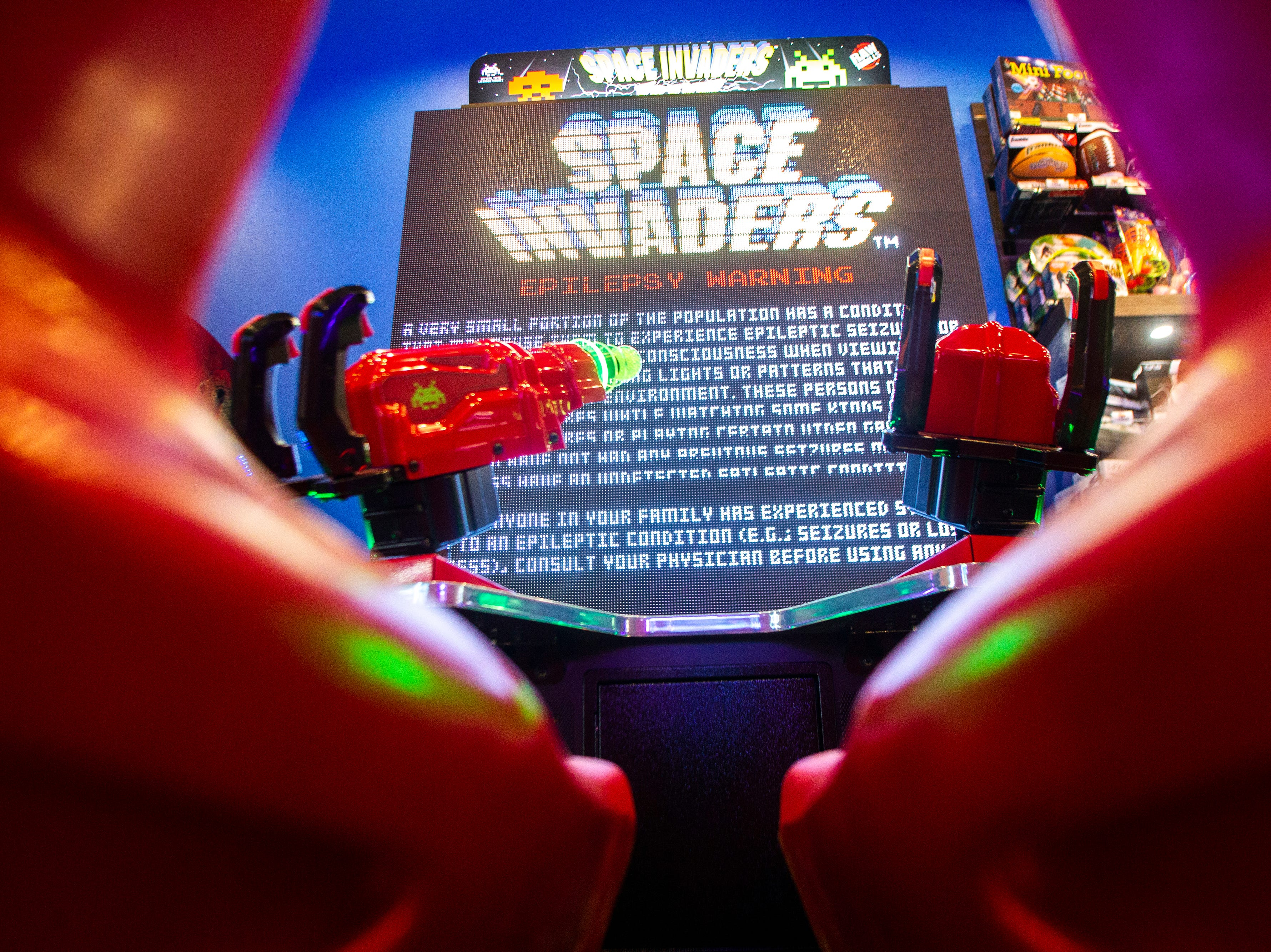 A Space Invaders arcade game is seen during a soft opening event on Thursday, Dec. 6, 2018, at Pizza Ranch on Highway 1 West in Iowa City.