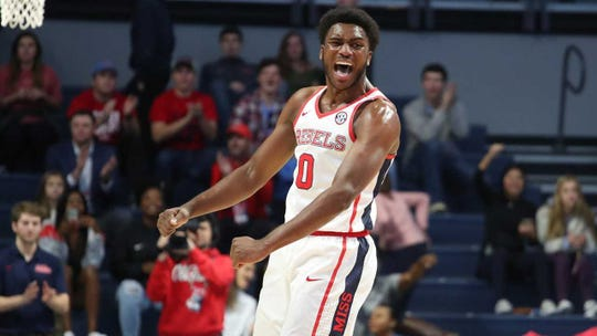Ole Miss sophomore forward Blake Hinson is prone to on-court celebrations, like his former high school teammate and current Ole Miss teammate Austin Crowley.