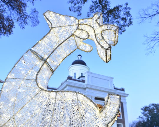 The old square in Canton, Miss. is decorated for the 2018 Christmas holiday season. Wednesday, Dec. 5, 2018.