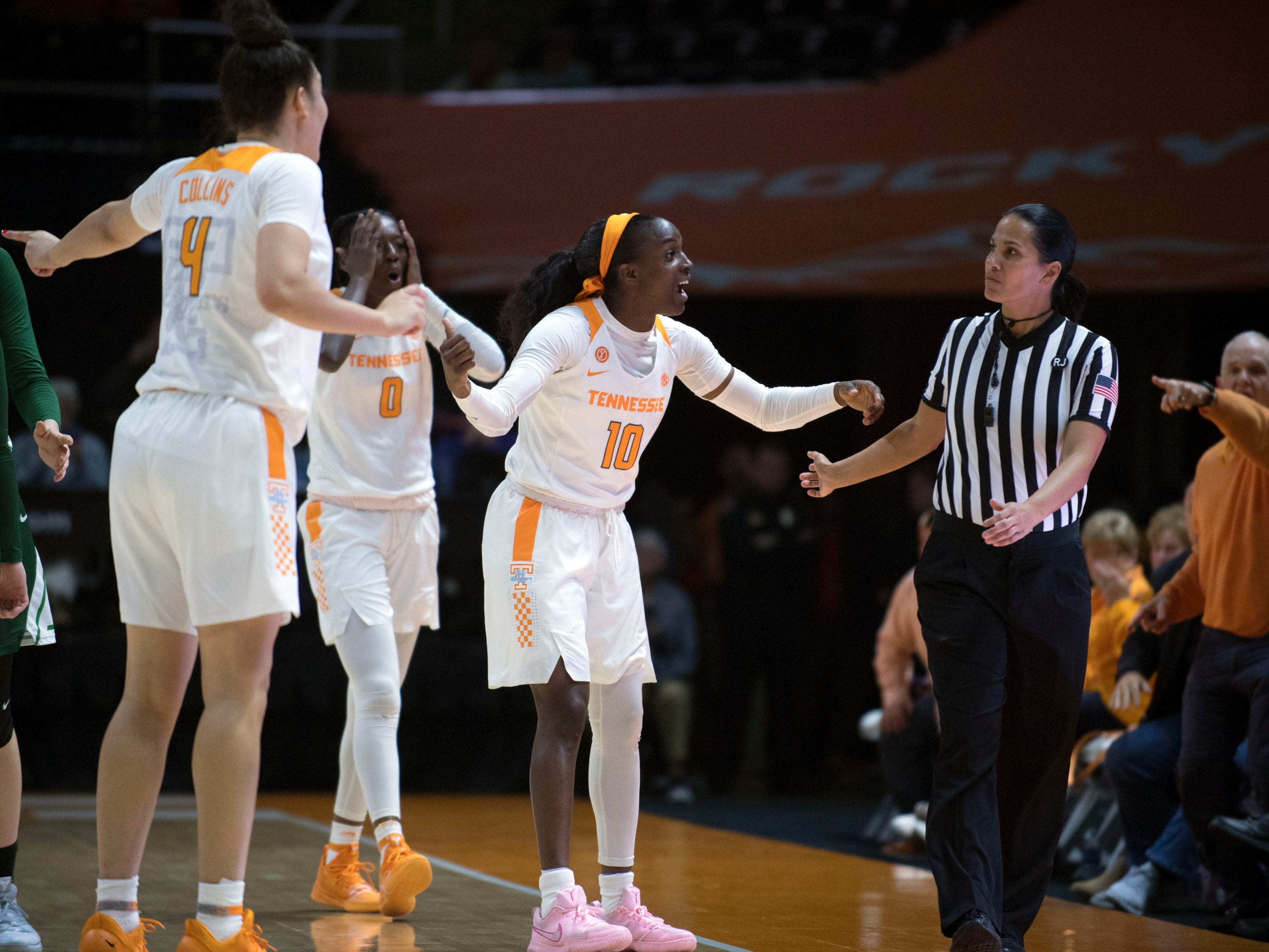 Tennessee's Meme Jackson (10) argues that the ball went out bounds on a Stetson player during their game at Thompson-Boling Arena on Wednesday, December 5, 2018. The official ruled in favor of Tennessee.
