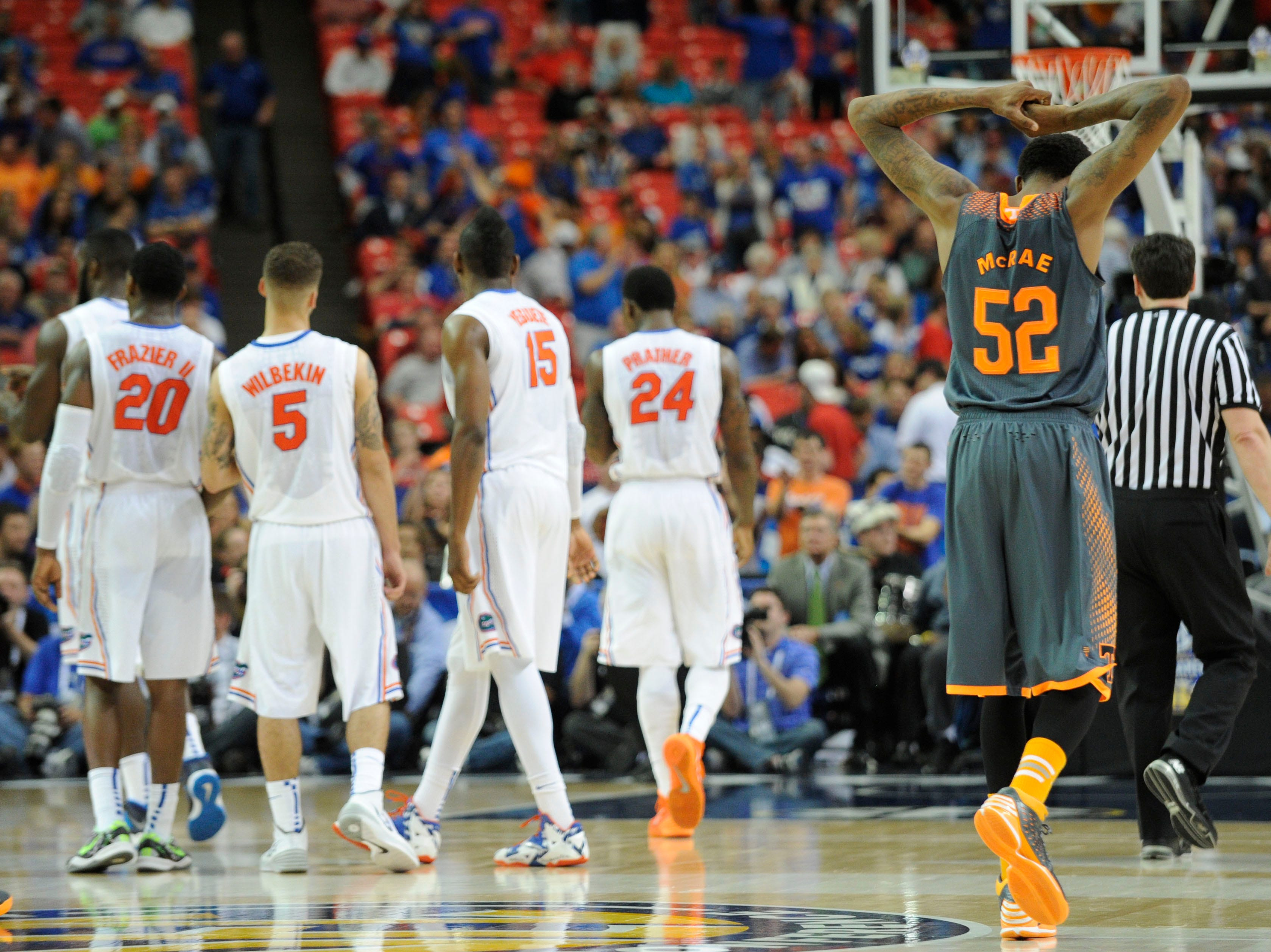 Tennessee guard Jordan McRae (52) wrings his hands in frustration as the final minute ticks down in Tennessee's 56-49 loss to Florida in an SEC tournament semifinal game at the Georgia Dome in Atlanta on Saturday, March 15, 2014.