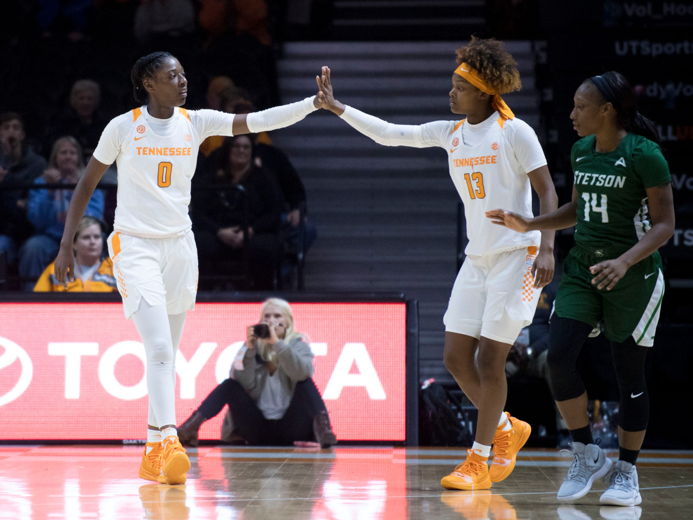 Tennessee's Rennia Davis (0) and Jazmine Massengill (13) celebrate during the game against Stetson on Wednesday, December 5, 2018.