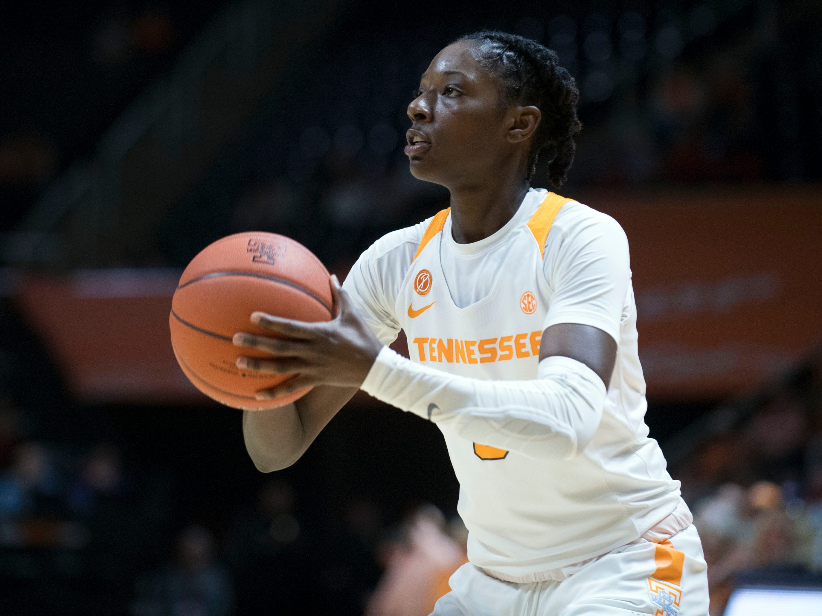 Tennessee's Rennia Davis (0) on the three-point attempt to give Tennessee their first lead over Stetson in the third quarter of the game at Thompson-Boling Arena on Wednesday, December 5, 2018.