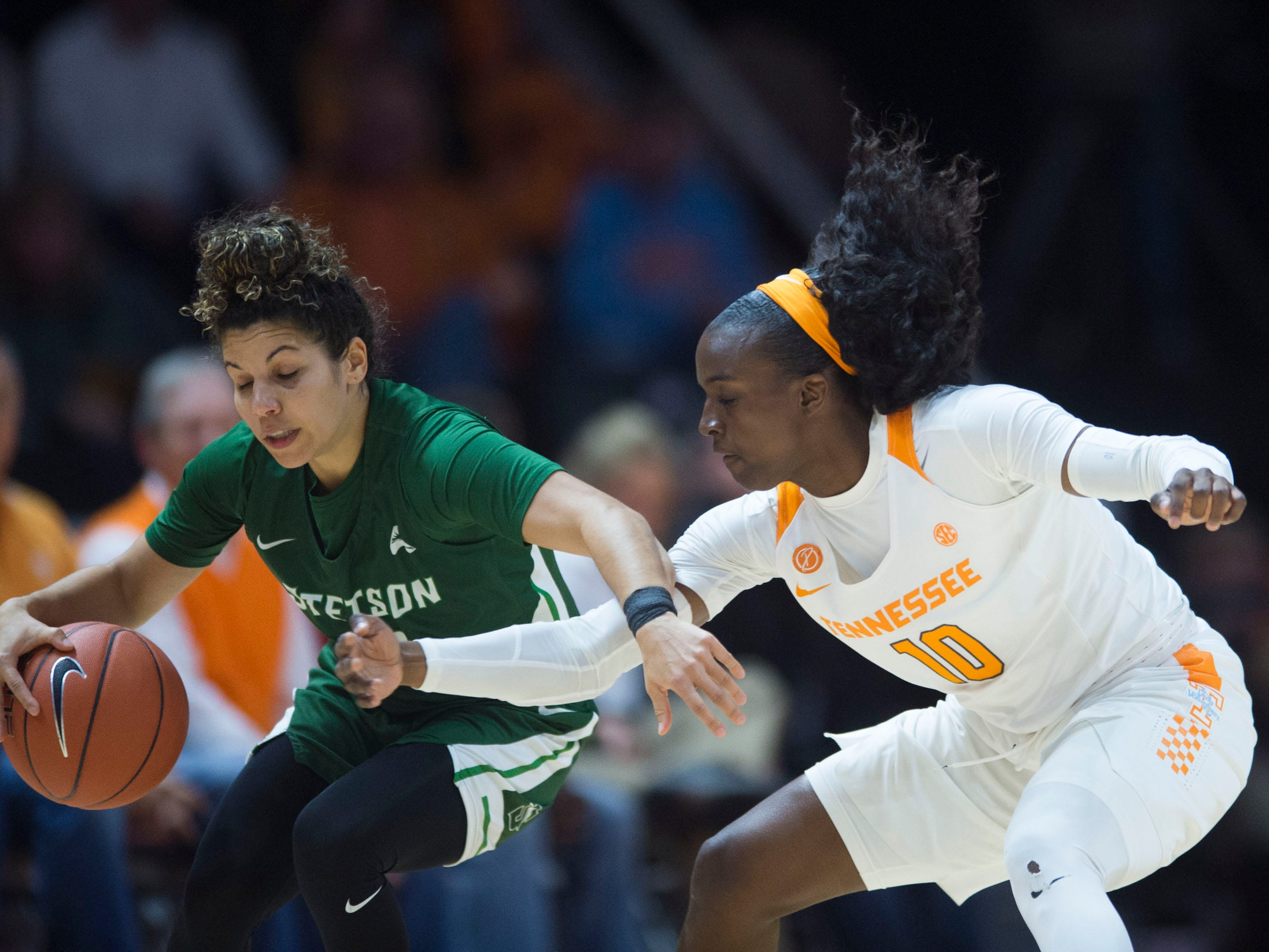 Tennessee's Meme Jackson (10) defended Stetson's McKenna Beach (2) at Thompson-Boling Arena on Wednesday, December 5, 2018.