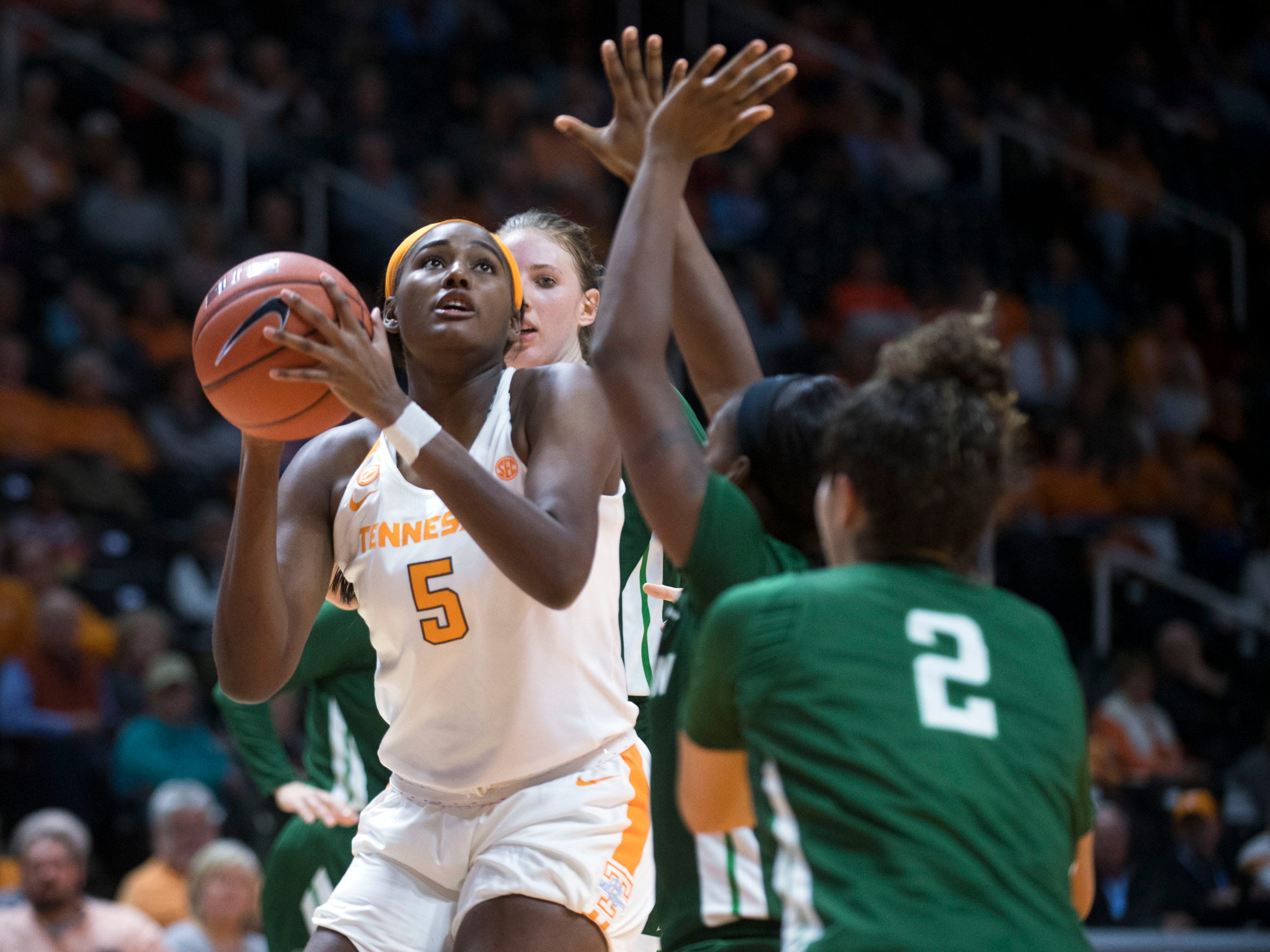 Tennessee's Kamera Harris (5) looks to the basket diring the game against Stetson at Thompson-Boling Arena on Wednesday, December 5, 2018.