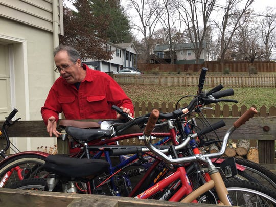 """I'm probably sitting on 40 bikes,"" says Turnbull. All await a new life with a delighted owner. Dec. 4, 2018."