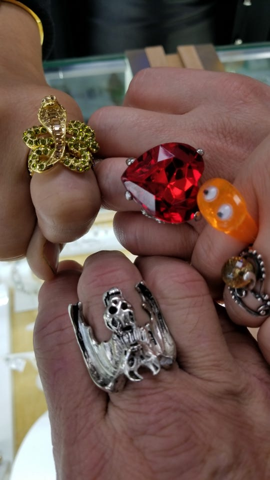One woman displayed her assortment of unusual rings.
