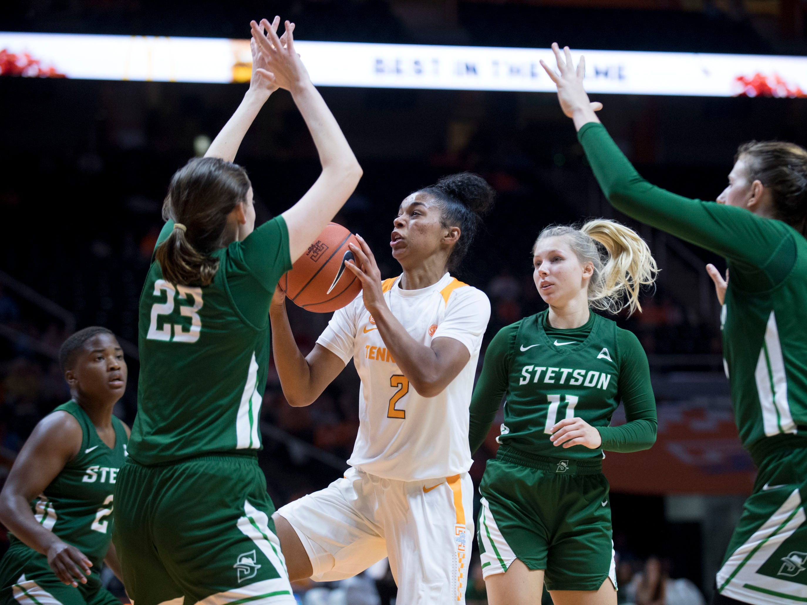 Tennessee's Evina Westbrook (2) drives through the Stetson defense Tennessee at Thompson-Boling Arena on Wednesday, December 5, 2018.