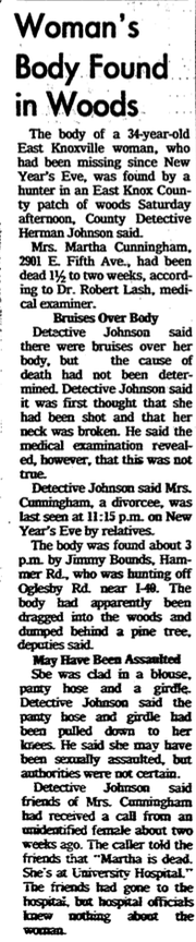 Knoxville News Sentinel clipping, Jan. 19, 1975, detailing the discovery of Martha Cunningham's body.