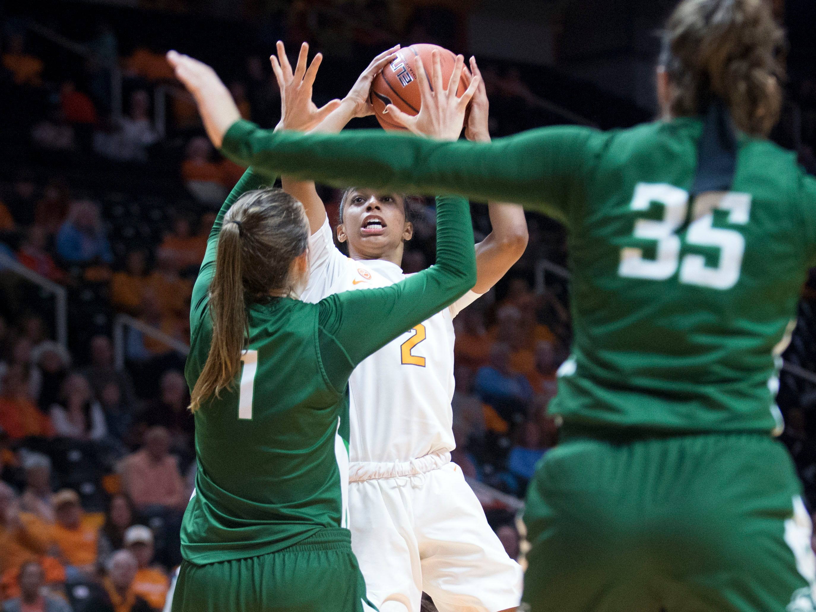 Tennessee's Evina Westbrook (2) attempt to score against Stetson on Wednesday, December 5, 2018.