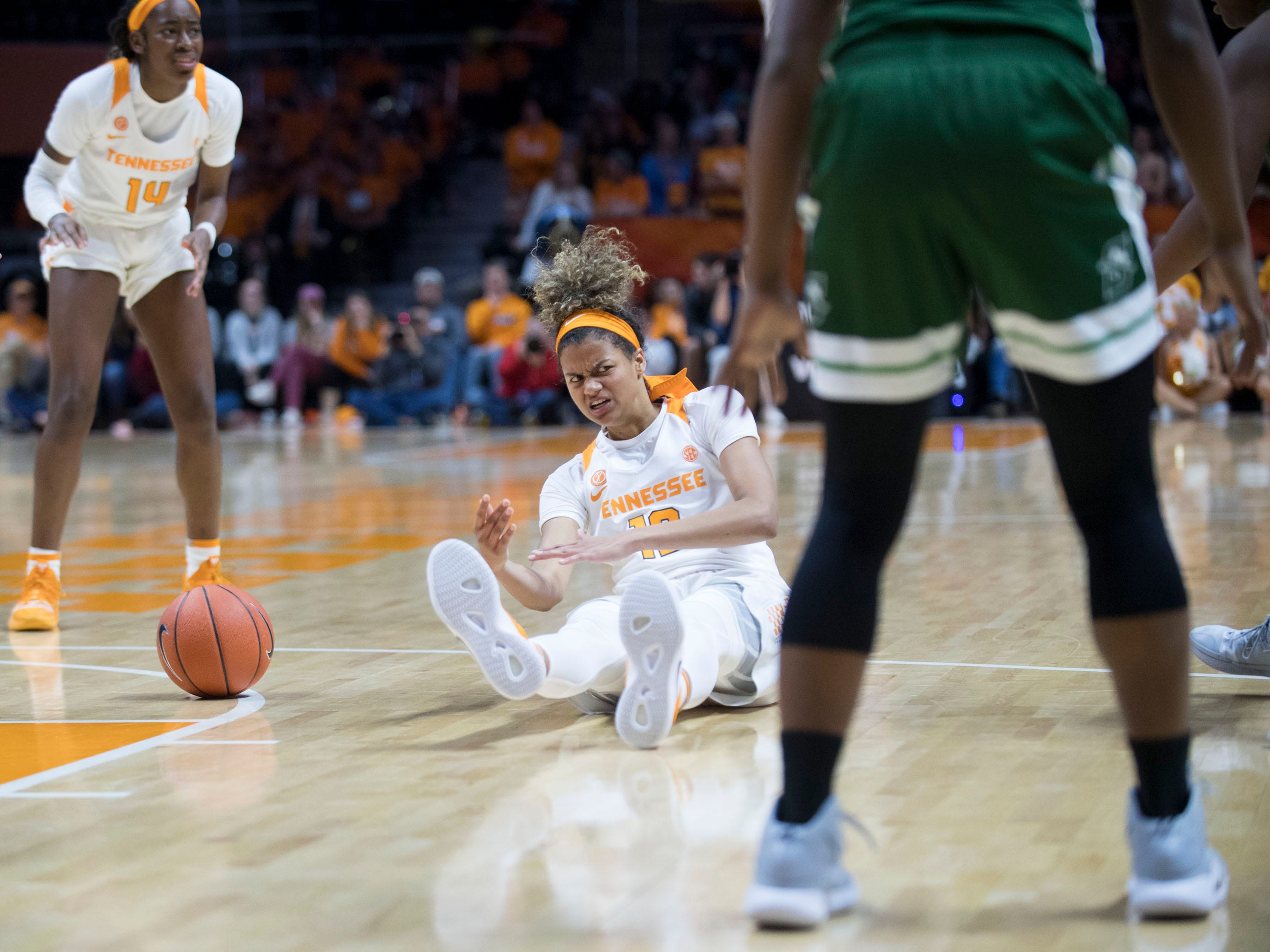 Tennessee's Rae Burrell (12) is fouled by Stetson at Thompson-Boling Arena on Wednesday, December 5, 2018.