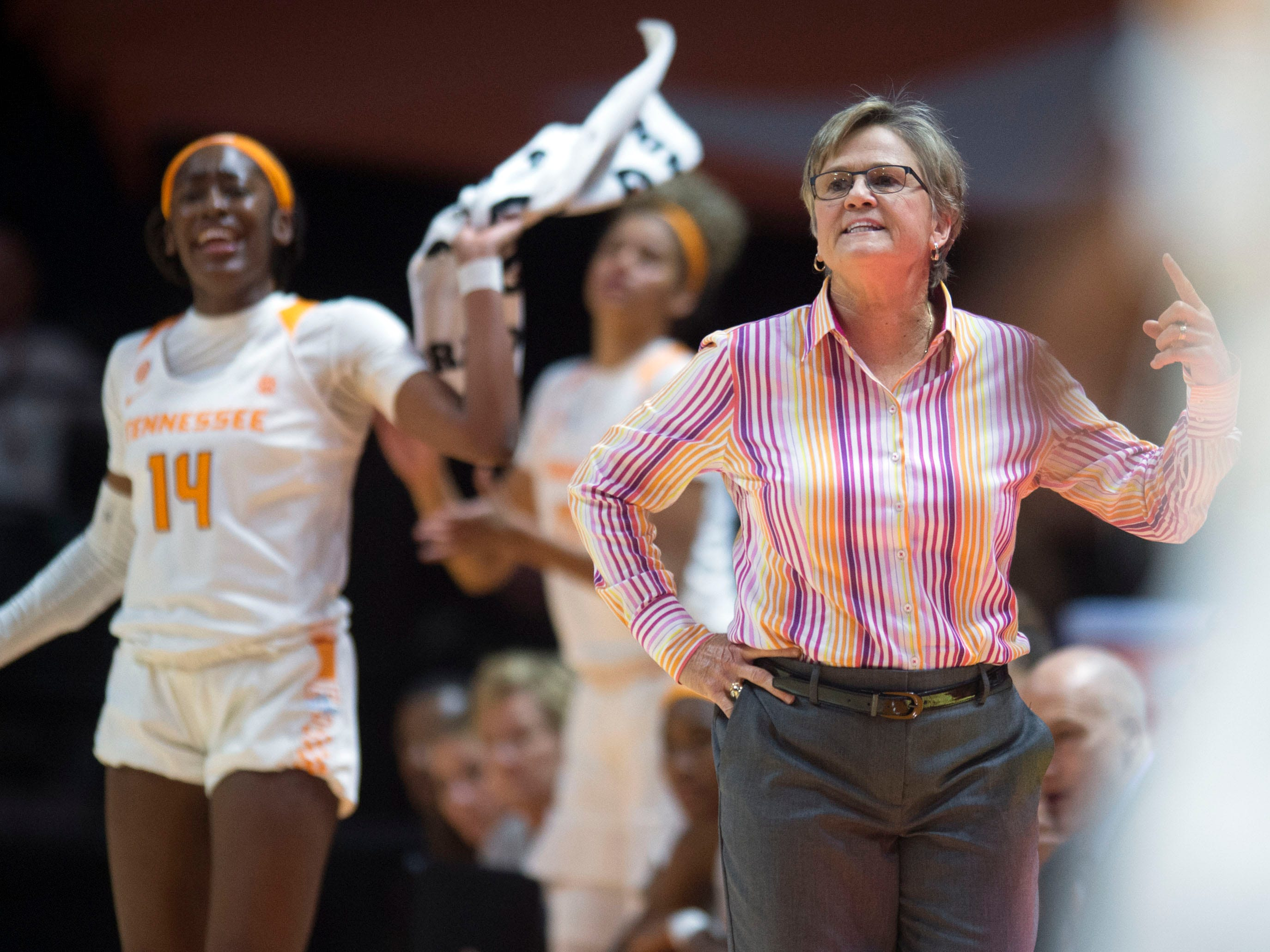 Tennessee head coach Holly Warlick yells directions to the players during the game against Stetson on Wednesday, December 5, 2018.