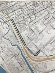 The section of Volunteer Boulevard which UT wants to own and rework is outlined in black on an MPC map.