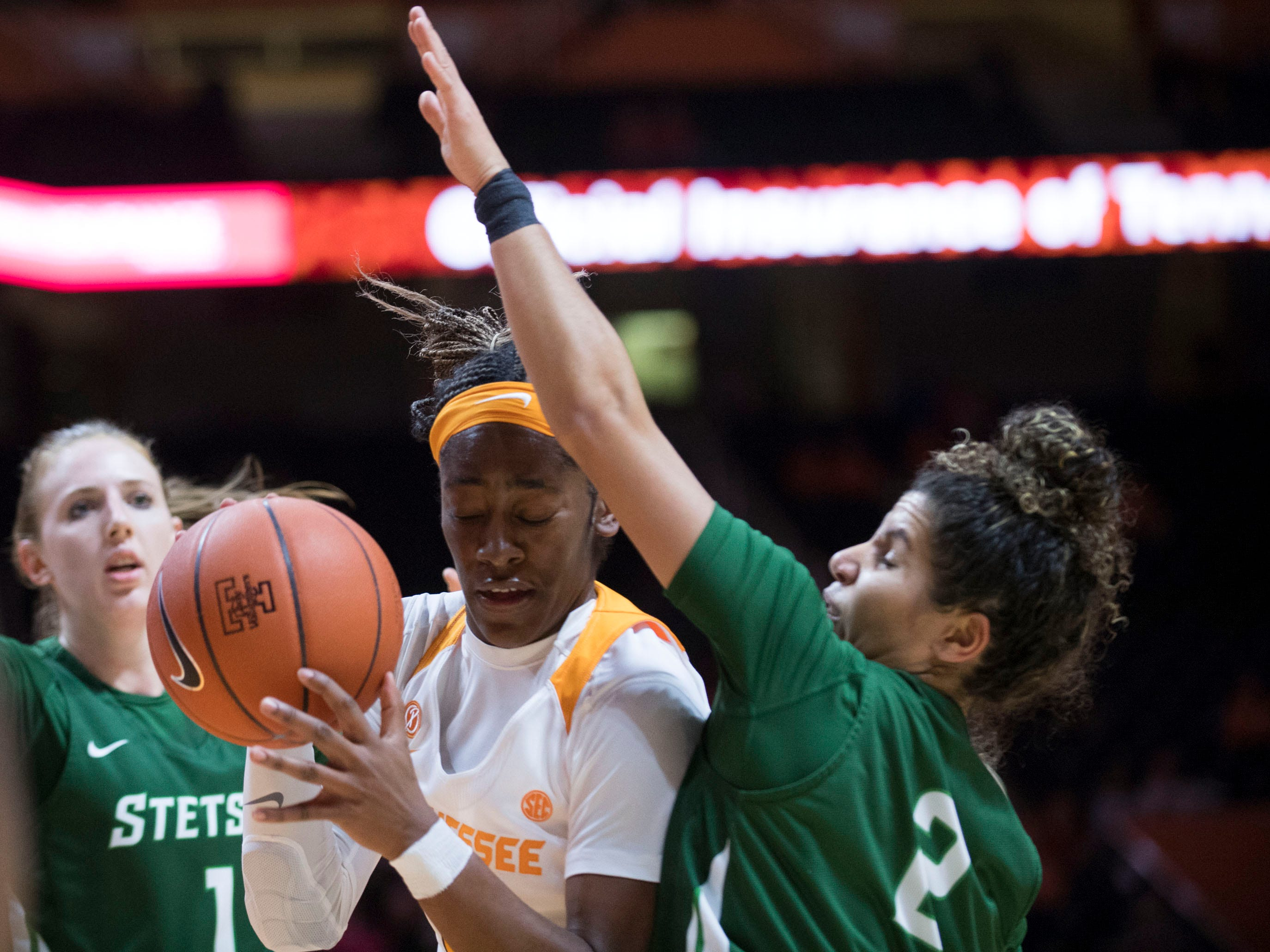 Tennessee's Zaay Green (14) is defended by Stetson's McKenna Beach (2) at Thompson-Boling Arena on Wednesday, December 5, 2018.