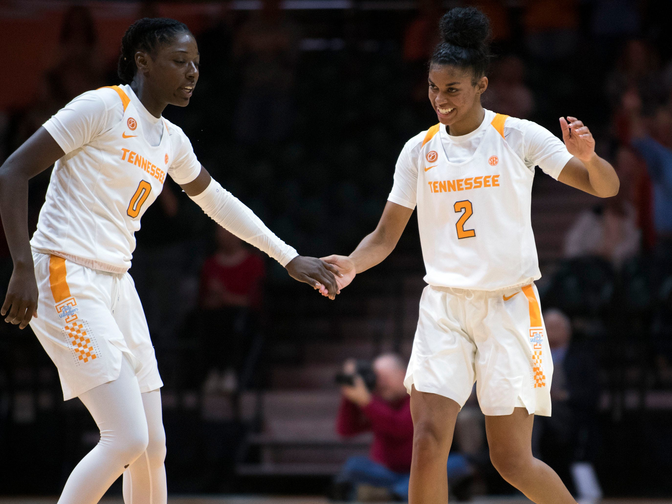 Tennessee's Rennia Davis (0) and Evina Westbrook (2) celebrates in the second half of of the game against Stetson on Wednesday, December 5, 2018.