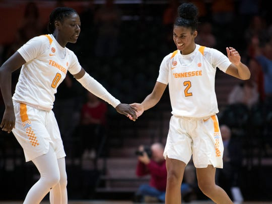 Tennessee's Rennia Davis (0) and Evina Westbrook (2) celebrates in the second half of of the game against Stetson on December 5.