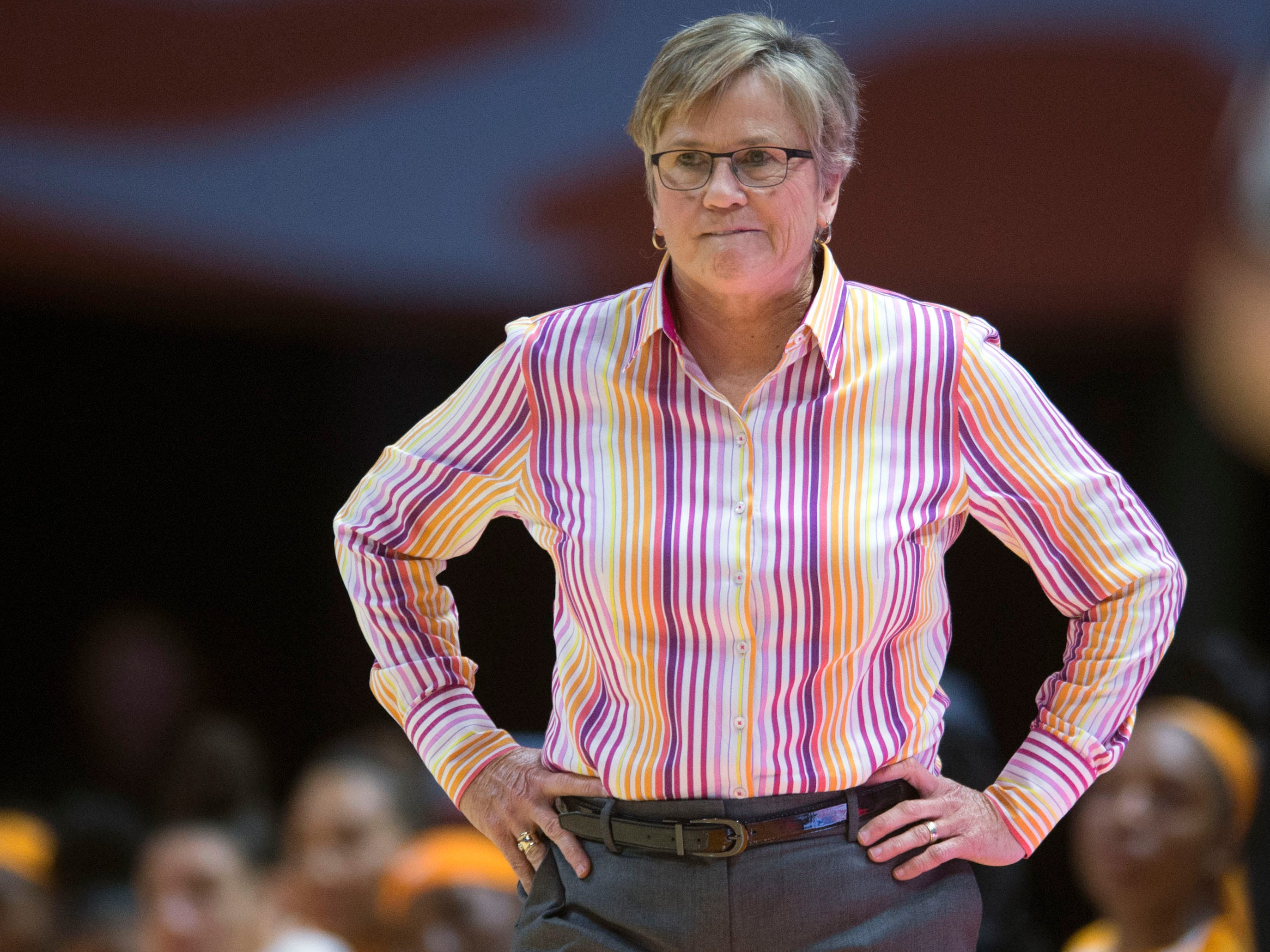 Tennessee head coach Holly Warlick in the first hald of the game against Stetson  on Wednesday, December 5, 2018.