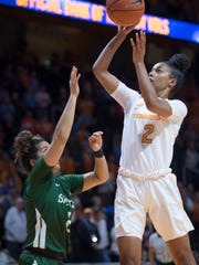 Tennessee's Evina Westbrook (2) attempts to score over Stetson's McKenna Beach (2) at Thompson-Boling Arena on Wednesday, December 5, 2018.