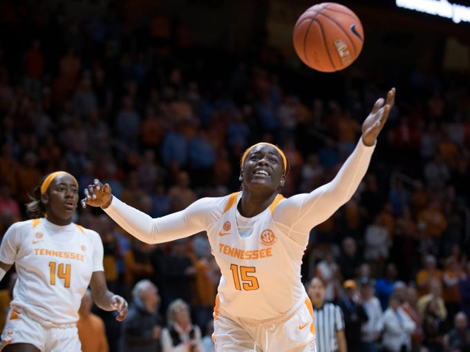 Tennessee's Cheridene Green (15) goes after the rebound during the game against Stetson at Thompson-Boling Arena on Wednesday, December 5, 2018.