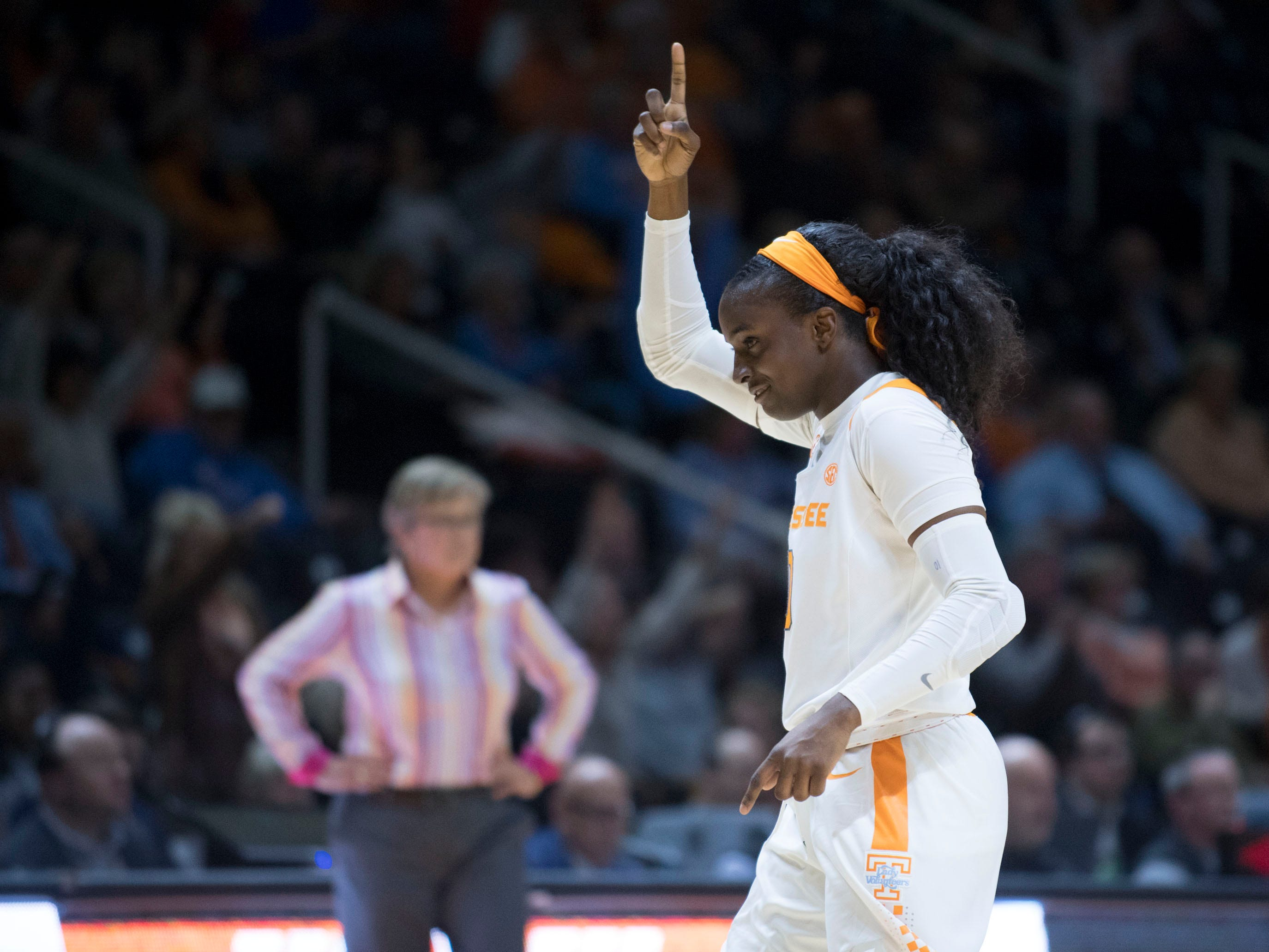 Tennessee's Meme Jackson (10) celebrates after getting a turnover against Stetson on Wednesday, December 5, 2018.