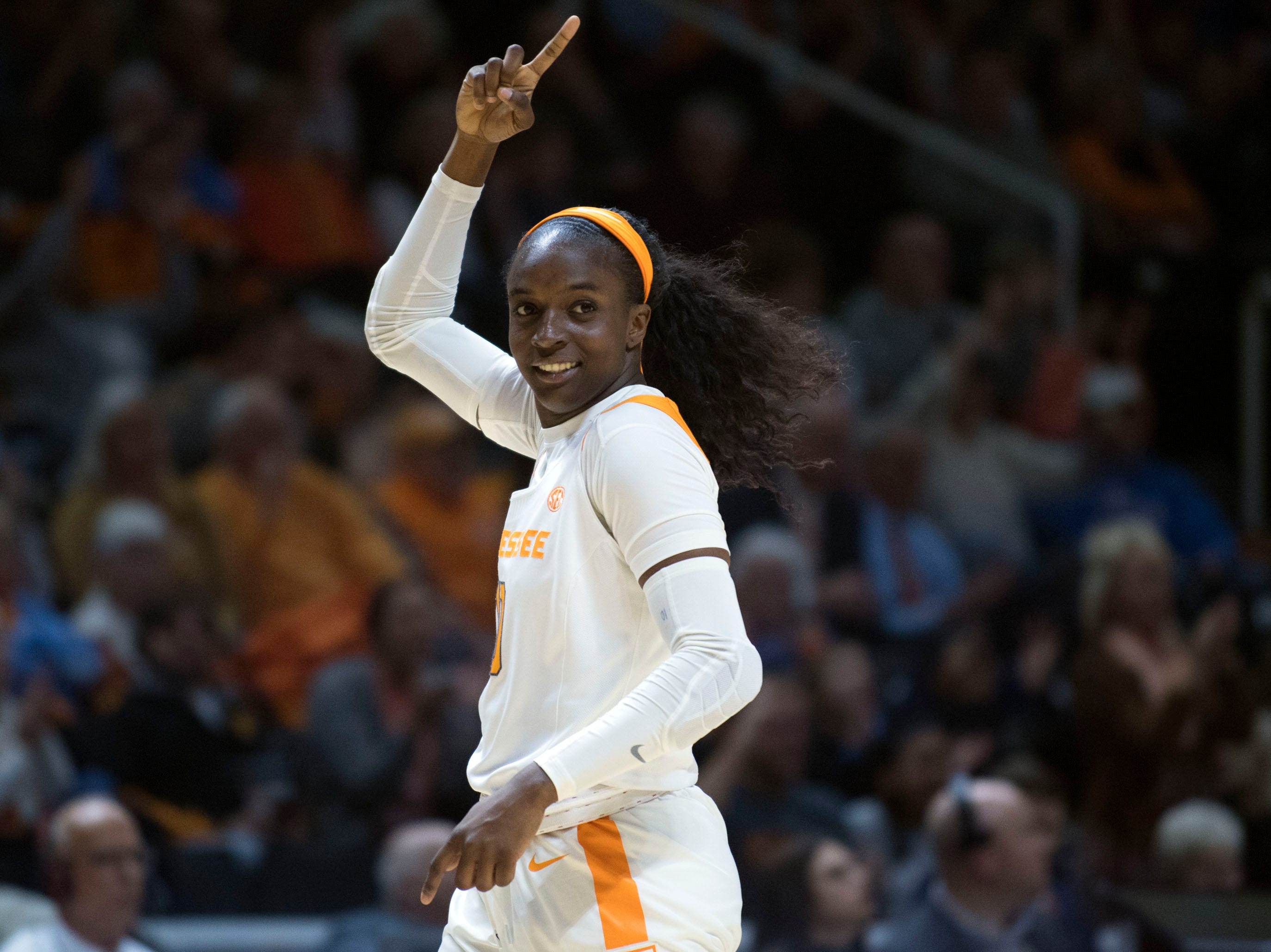 Tennessee's Meme Jackson (10) smiles after getting a turnover against Stetson on Wednesday, December 5, 2018.