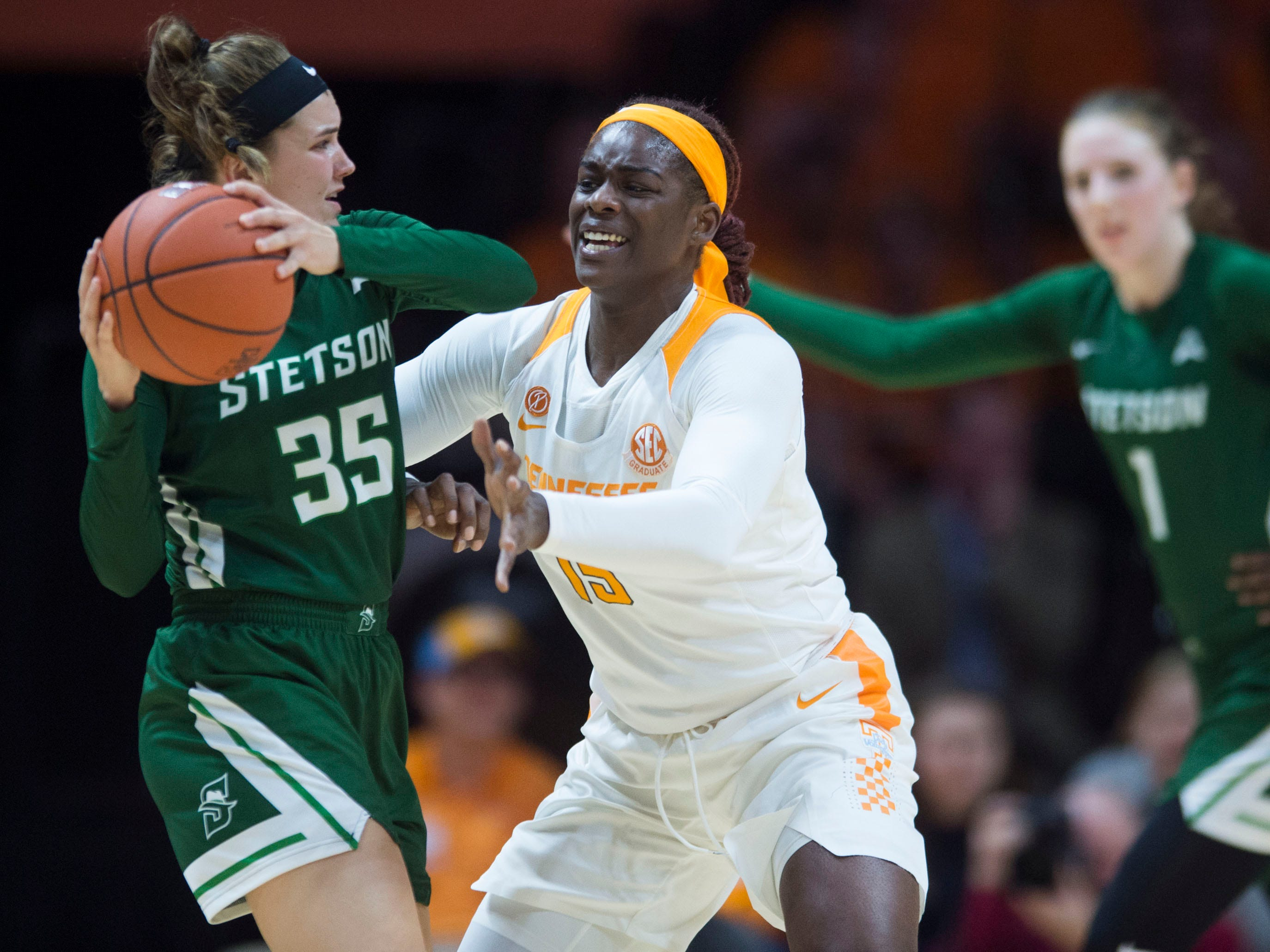 Tennessee's Cheridene Green (15) defends Stetson's Kendall Lentz (35) on Wednesday, December 5, 2018.