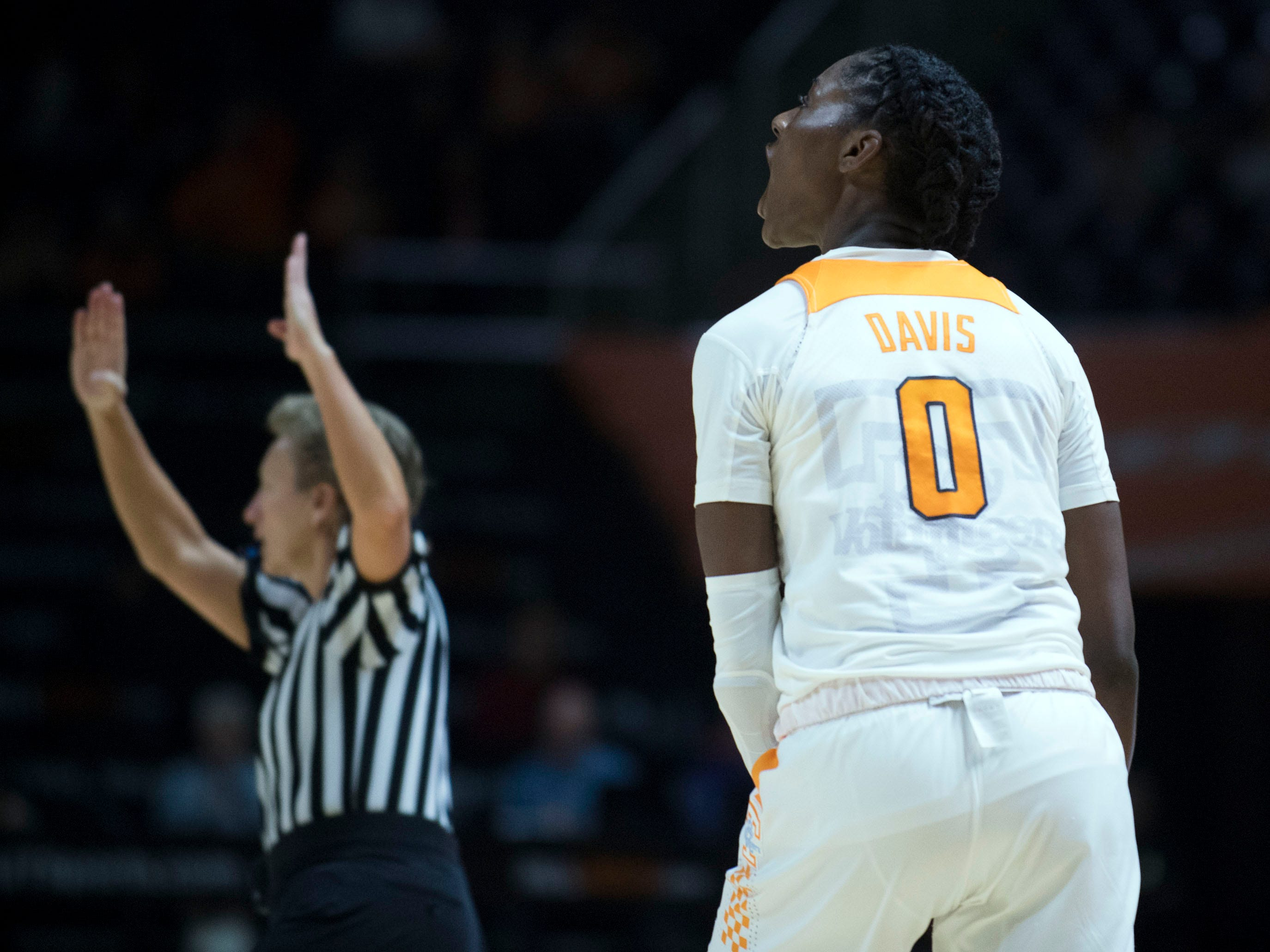 Tennessee's Rennia Davis (0) yells out after her three-point shot put Tennessee ahead of Stetson in the second half of the game at Thompson-Boling Arena on Wednesday, December 5, 2018.