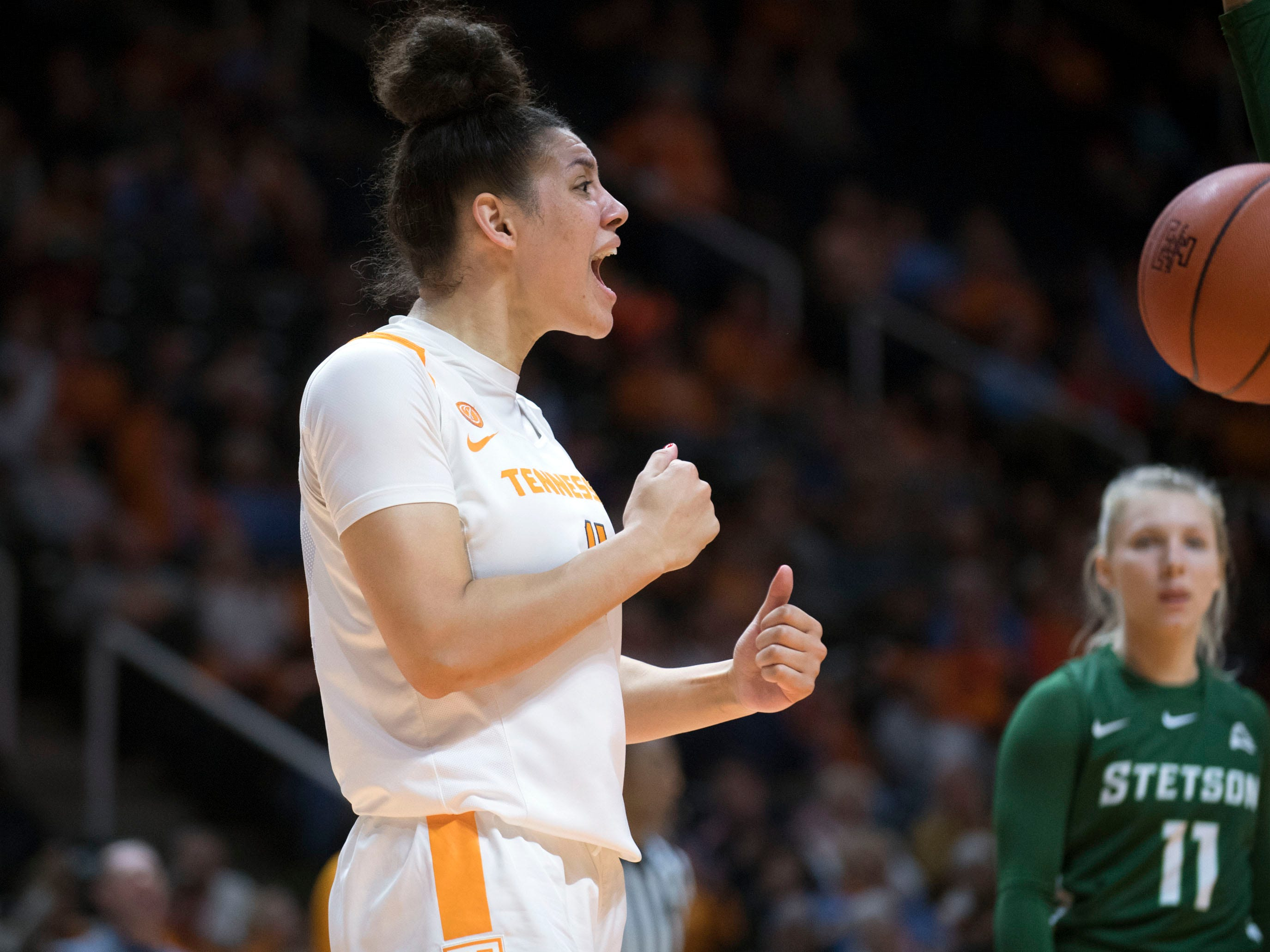 Tennessee's Mimi Collins (4) responds after drawing a foul against Stetson on Wednesday, December 5, 2018.