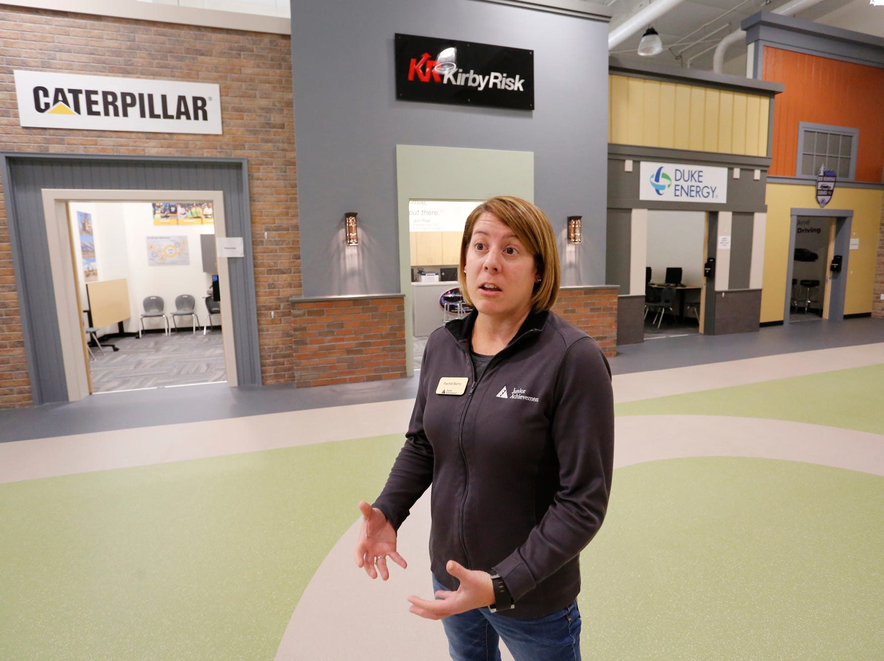 Rachel Burns, director of the Junior Achievement Center, talks about the programs offered Thursday, December 6, 2018, at the new Lafayette Family YMCA, 3001 S. Creasy Lane in Lafayette. The Junior Achievement Center offers BizTown for fifth and sixth graders, and Finance Park for student eighth grade and older. Both programs introduce students to real life business situations to help develop skills such as personal finance and management.