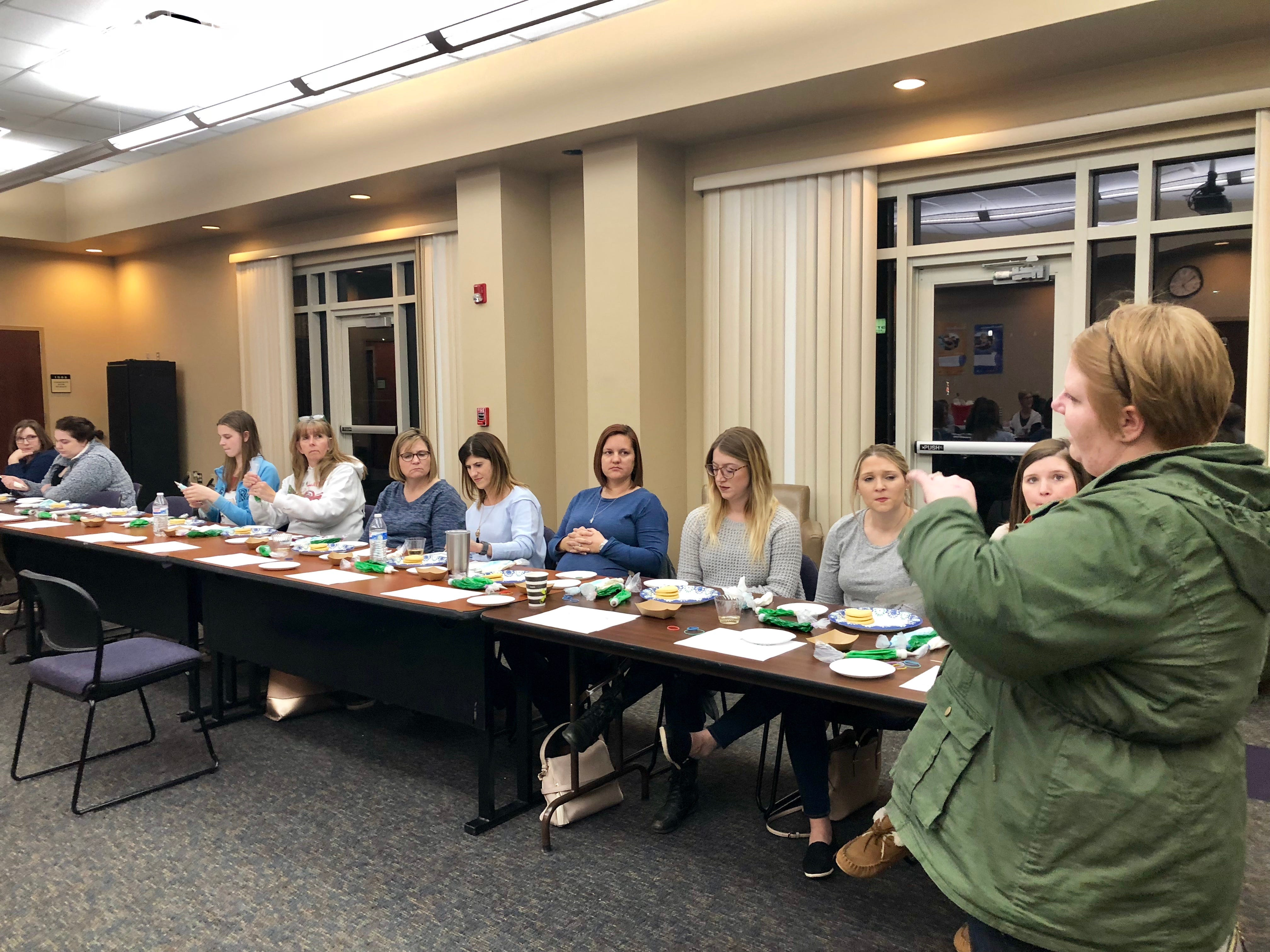 Food reporter Megan Wyatt leads a cookie-decorating workshop at The Daily Advertiser Dec. 5, 2018.