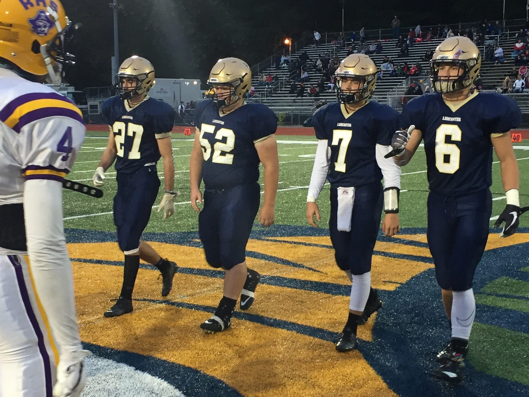 Lancaster senior offensive lineman Vince Albertini served as one of four captains, along with A.J. Cook, Tyler Monk and Jake Richards.