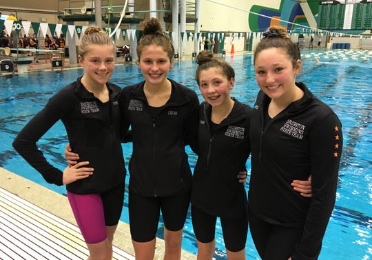 Brighton's 200 medley relay team of (from left) Lindsey Witte, Julianne Libler, Jordyn Libler and Maddie Mince finished fifth in the state meet.